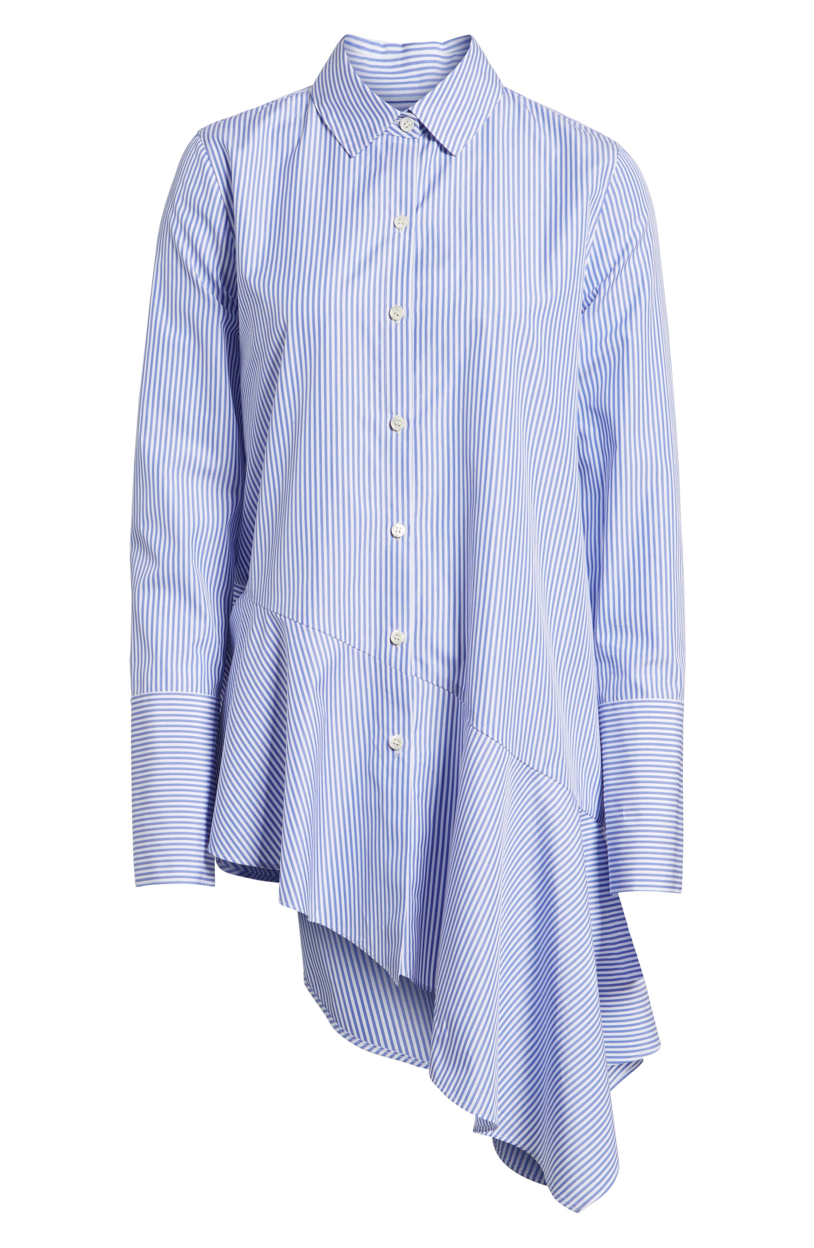 Asymmetrical Stripe Shirt,                             Alternate thumbnail 7, color,                             Blue Denim Stripe