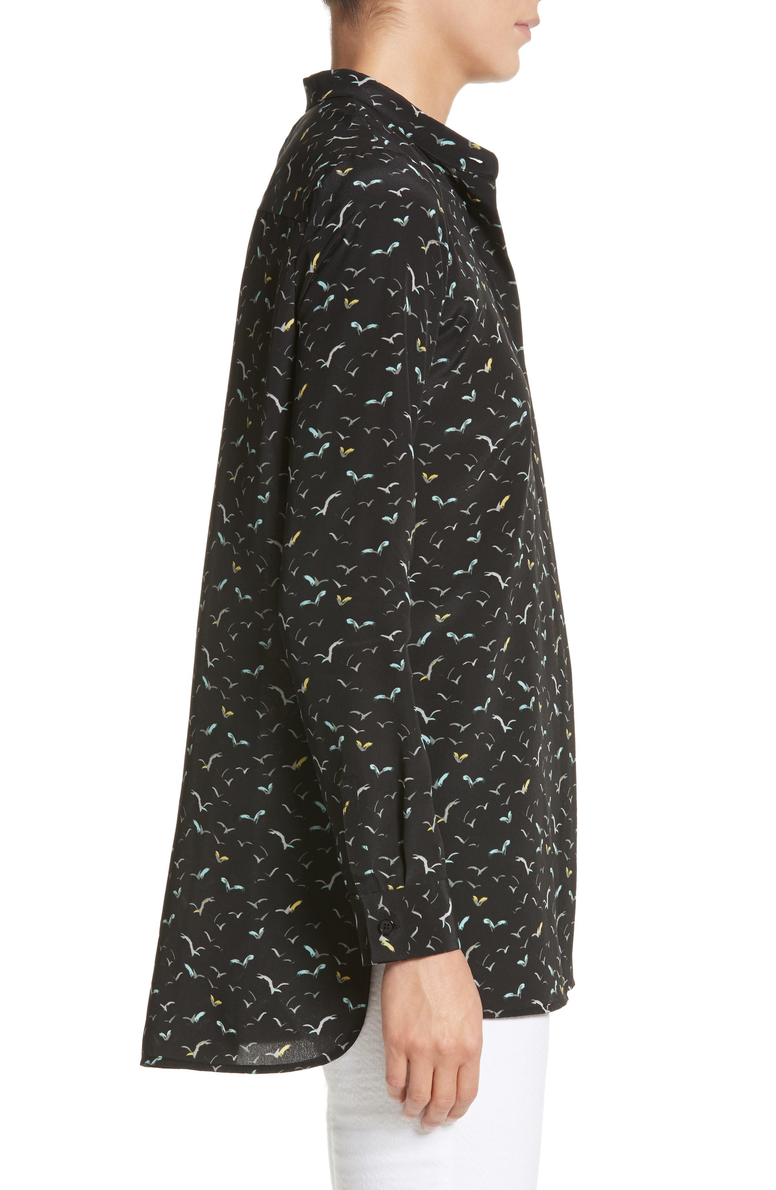 Brayden Print Silk Blouse,                             Alternate thumbnail 3, color,                             Black Multi