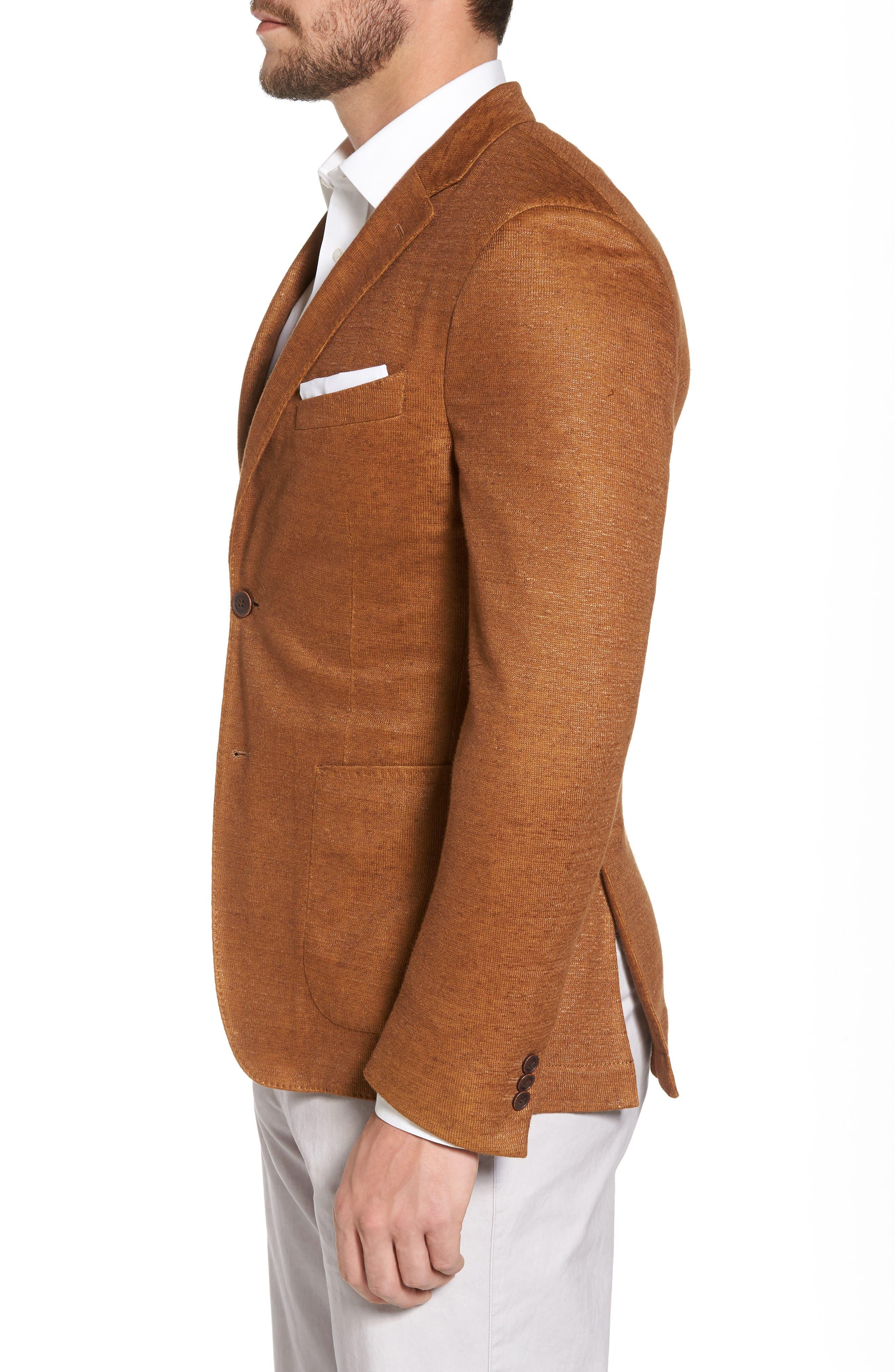 Trim Fit Heathered Jersey Blazer,                             Alternate thumbnail 3, color,                             Burnt Sienna