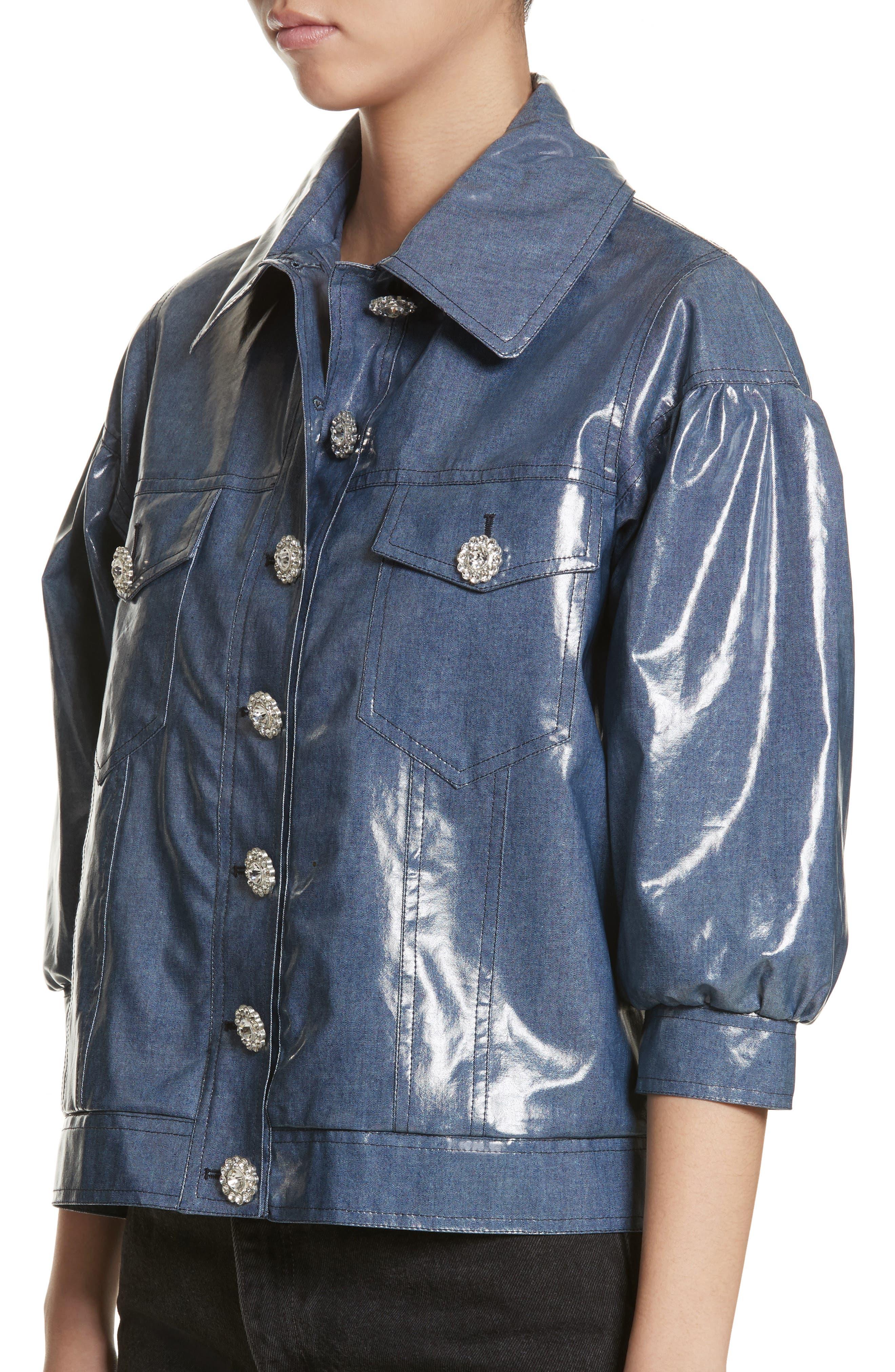 Luca Puff Sleeve Denim Jacket,                             Alternate thumbnail 4, color,                             Navy