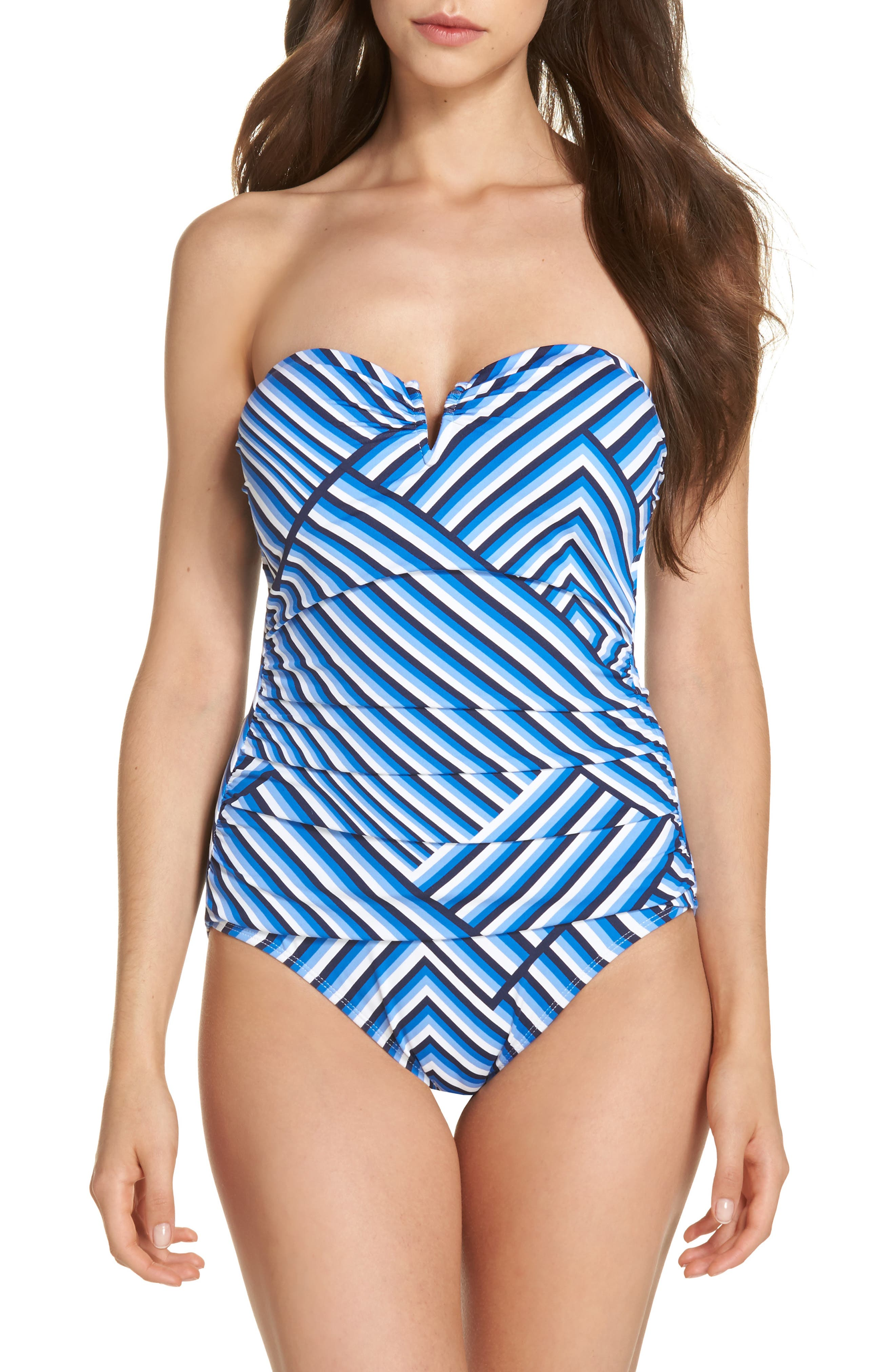 Fuller Fronds Strapless One-Piece Swimsuit,                         Main,                         color, White