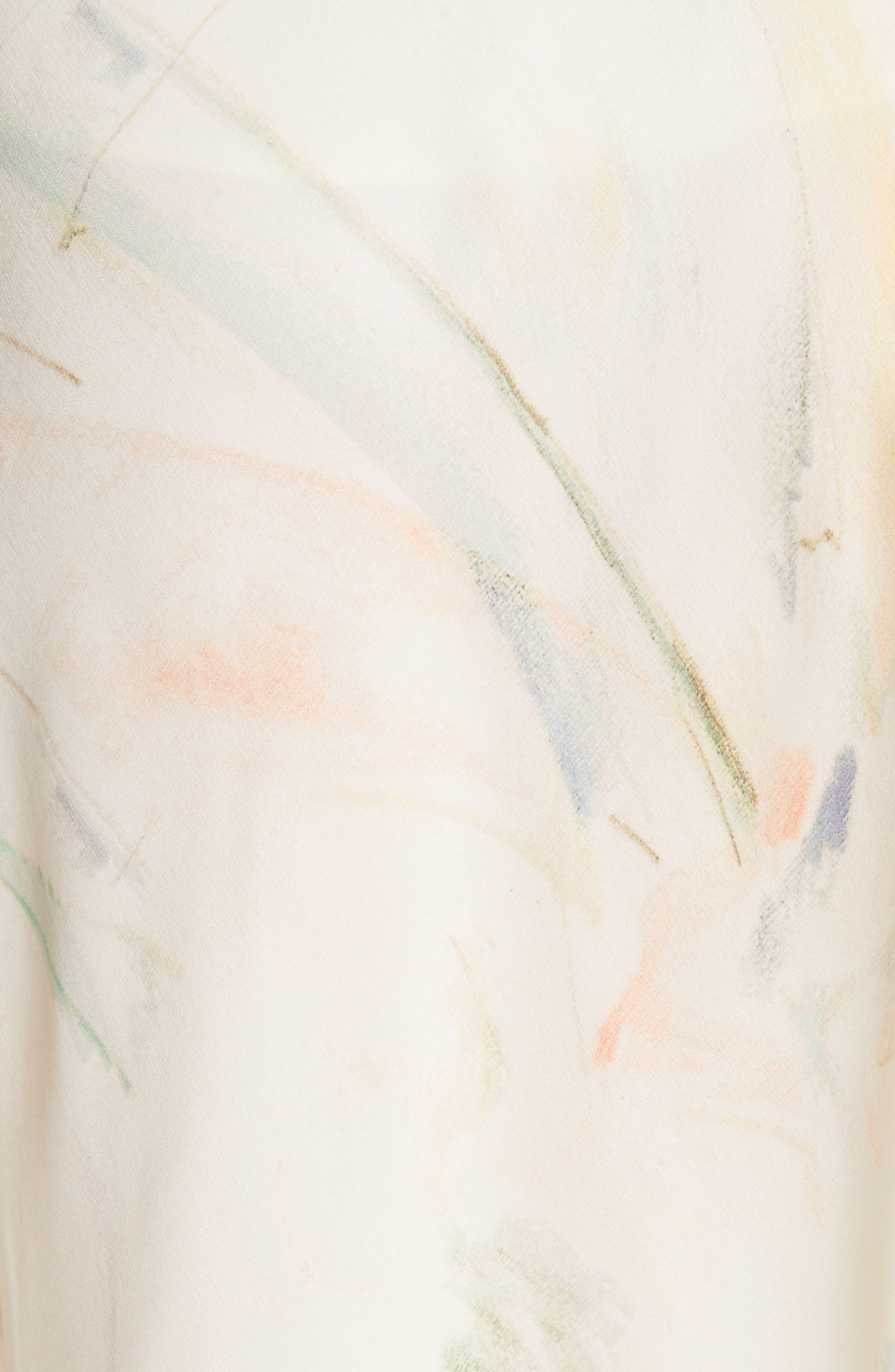 Dessie Modern Muse Print Silk Midi Skirt,                             Alternate thumbnail 5, color,                             Raffia Multi