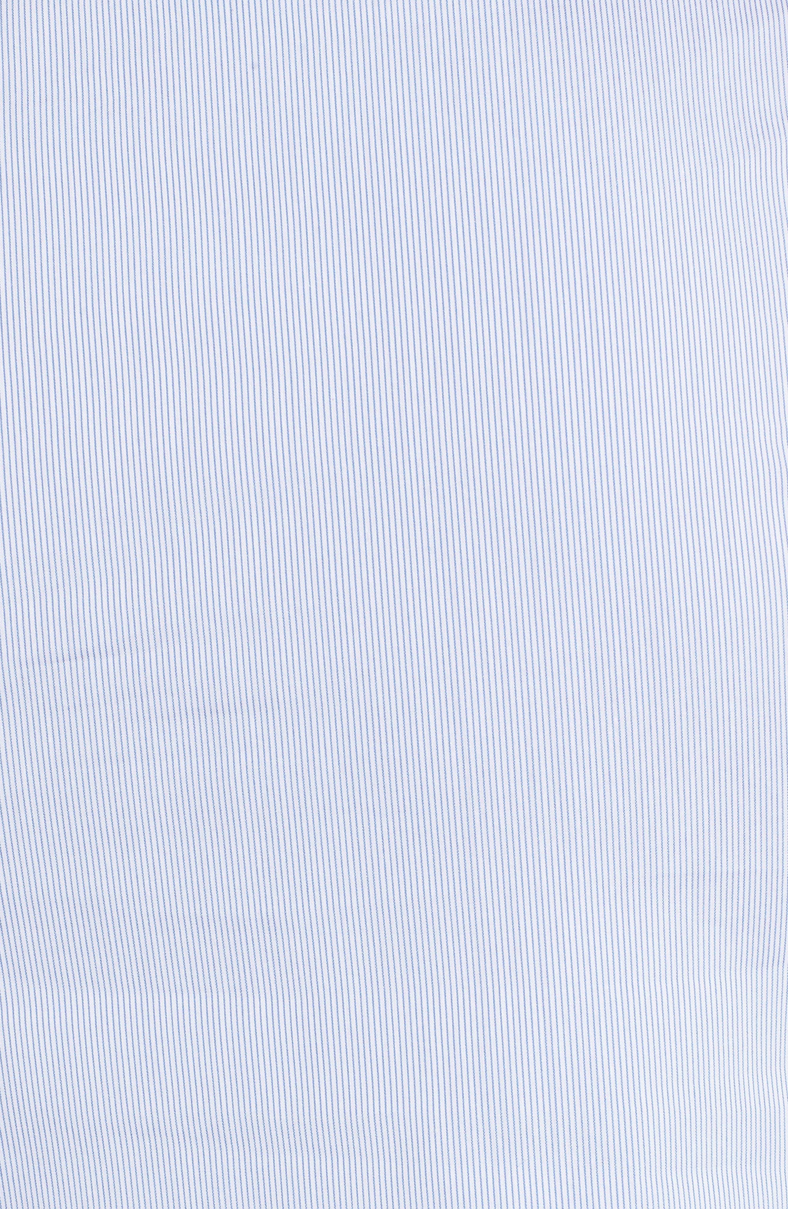 Smocked Puff Sleeve Poplin Top,                             Alternate thumbnail 5, color,                             Blue- White Pinstripe