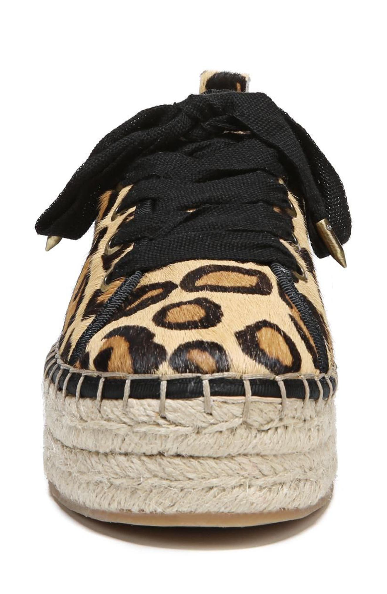 Celina Genuine Calf Hair Espadrille Flat,                             Alternate thumbnail 4, color,                             New Nude Leopard Brahma Hair