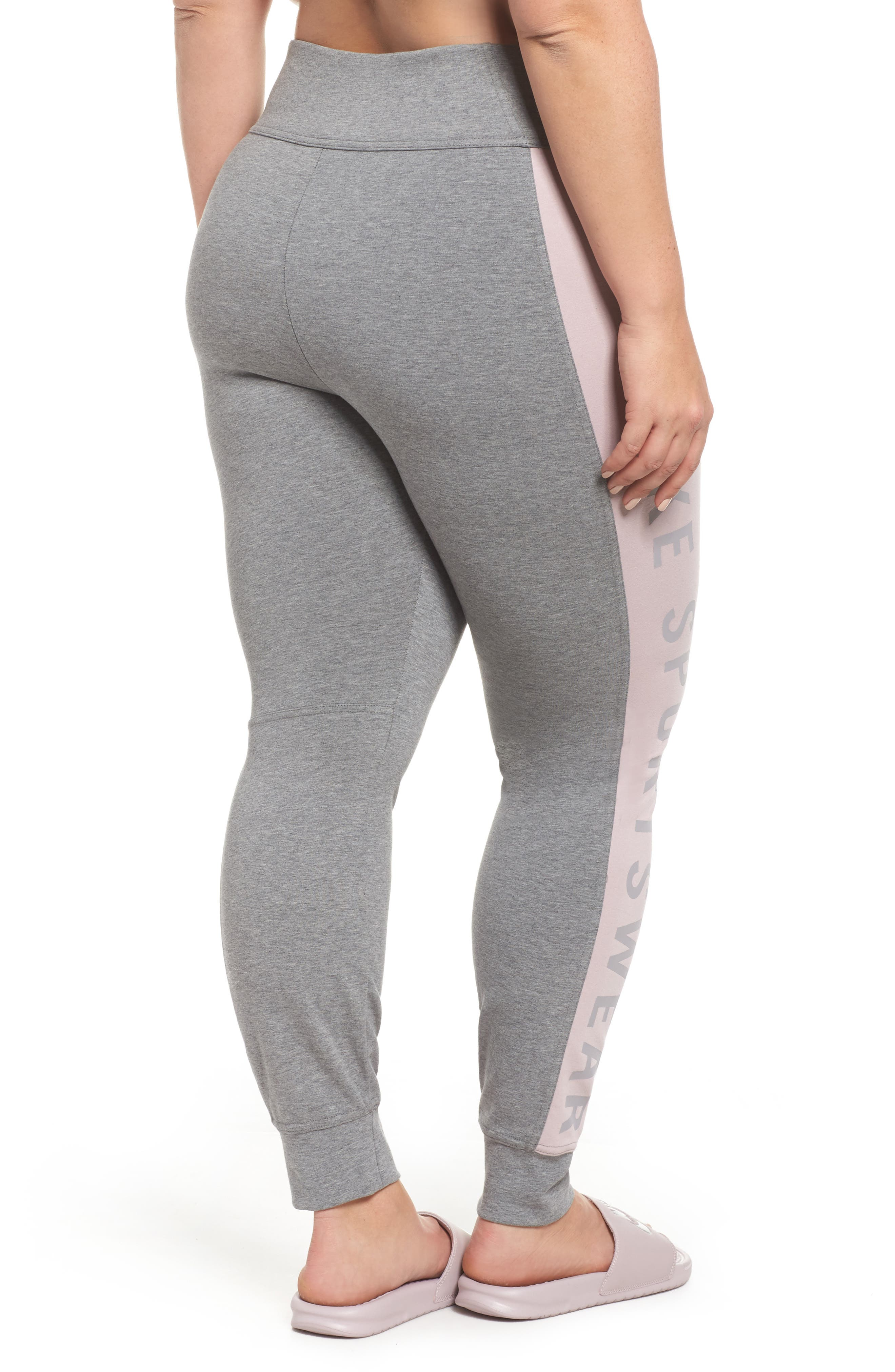 Sportswear Essential Logo Leggings,                             Alternate thumbnail 2, color,                             Carbon Heather/Particle Rose