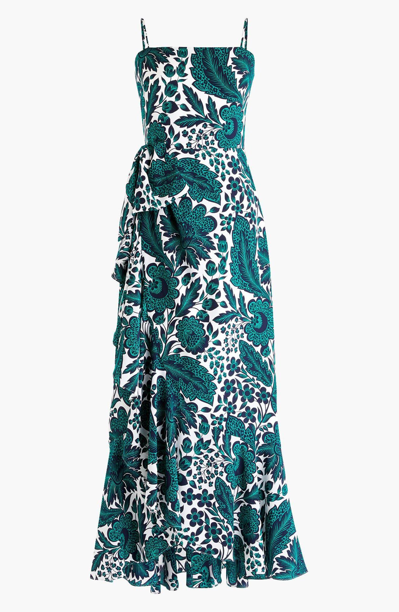 Ruffle High/Low Silk Dress,                             Alternate thumbnail 5, color,                             Navy Green