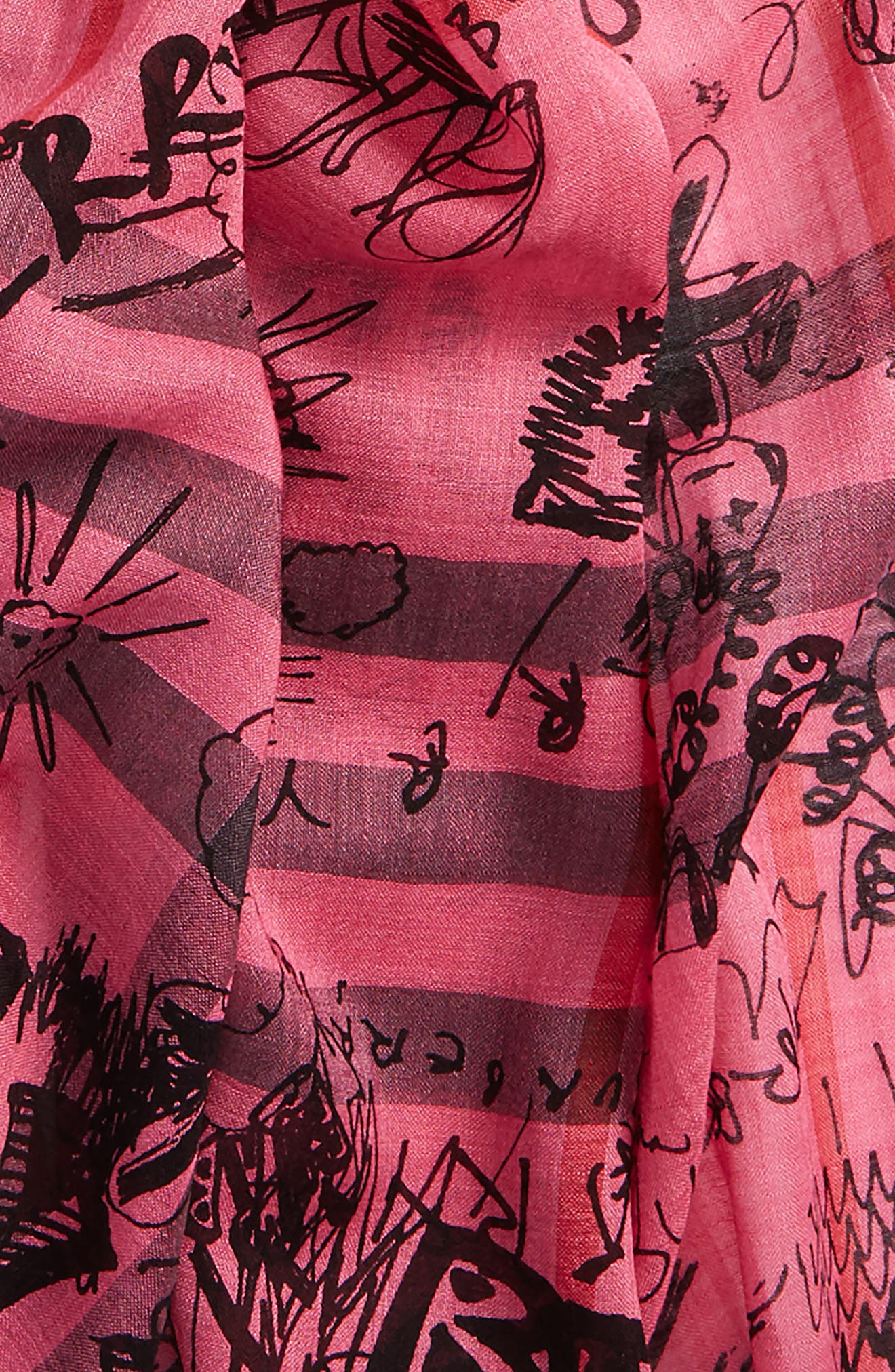 Doodle Print Check Wool & Silk Scarf,                             Alternate thumbnail 3, color,                             Neon Pink