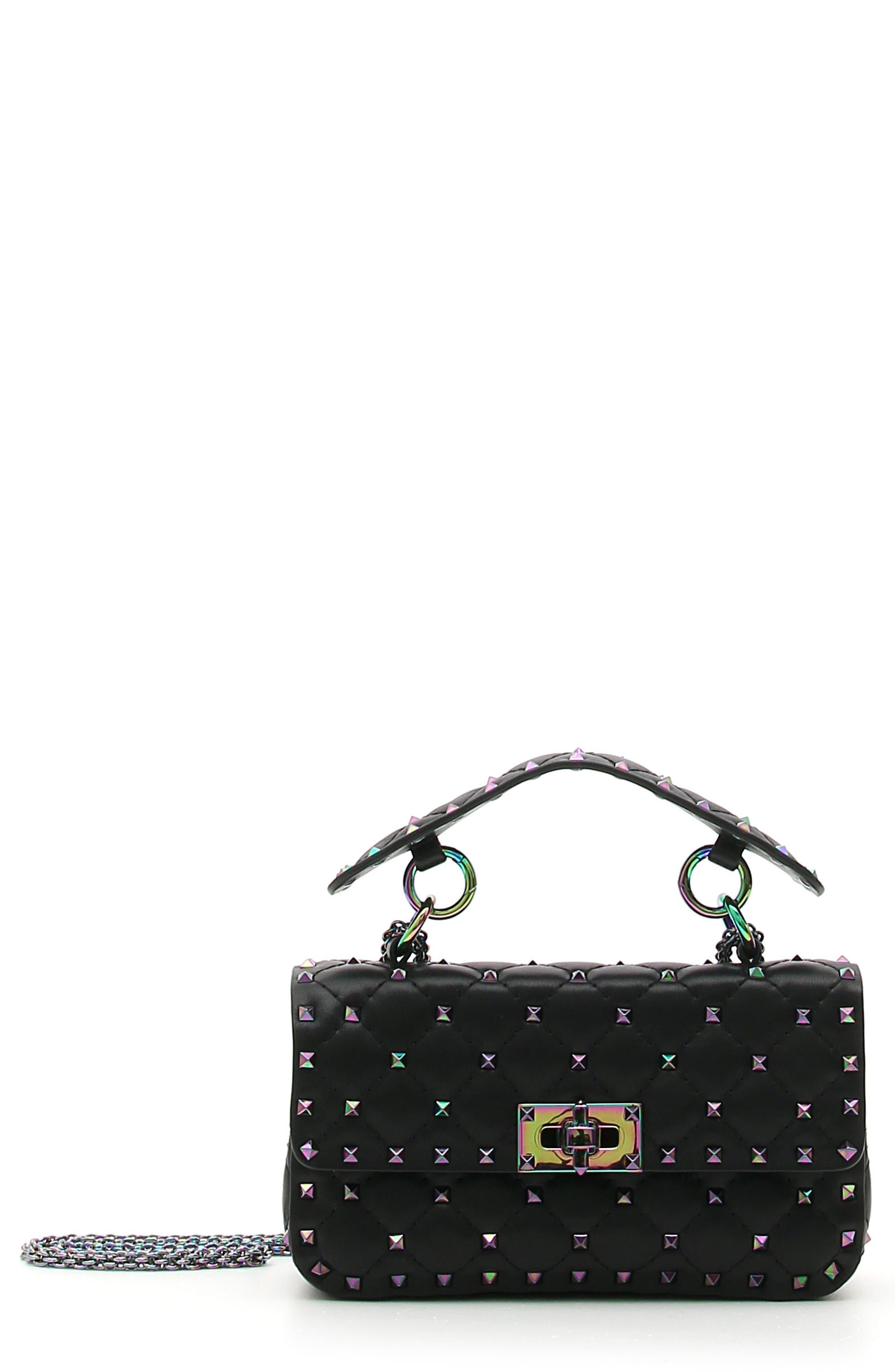 Small Oil Slick Rockstud Spike Lambskin Shoulder Bag,                             Main thumbnail 1, color,                             Black