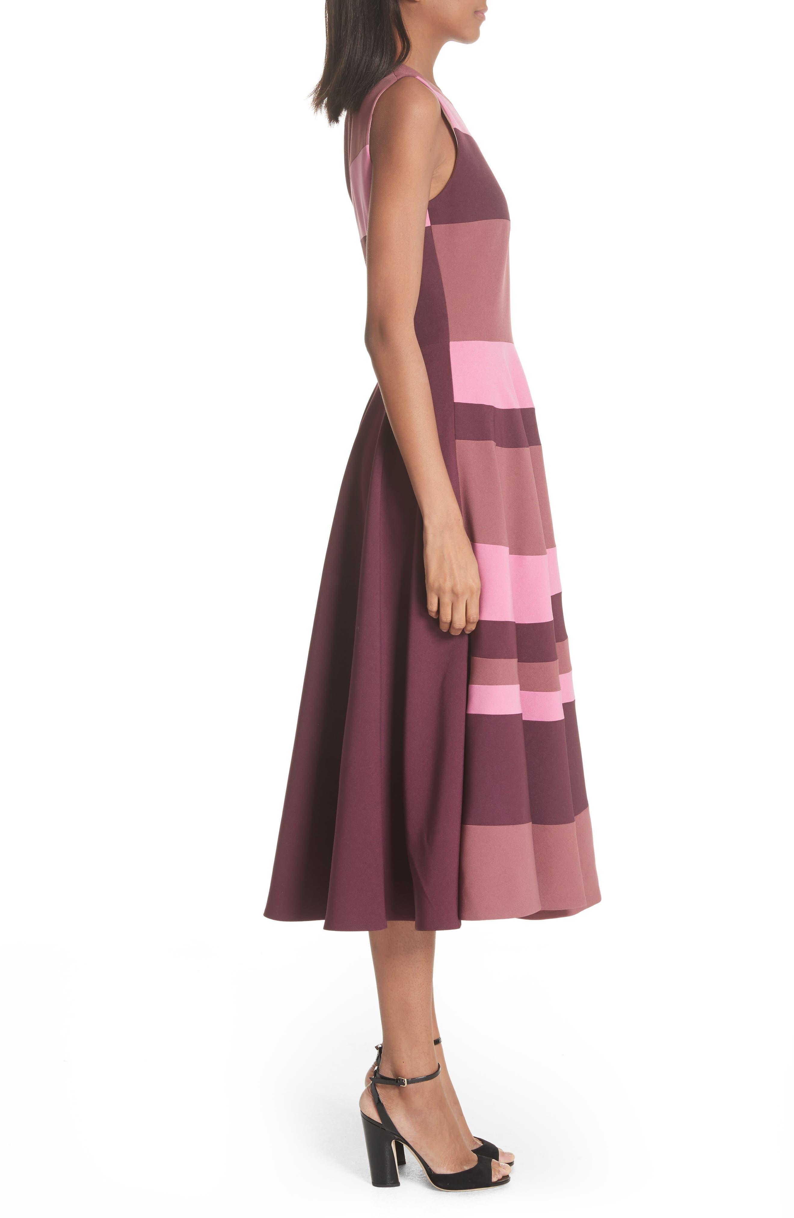 Tatum Stripe Paneled Fit & Flare Dress,                             Alternate thumbnail 3, color,                             Plum/ Blossom/ Mink