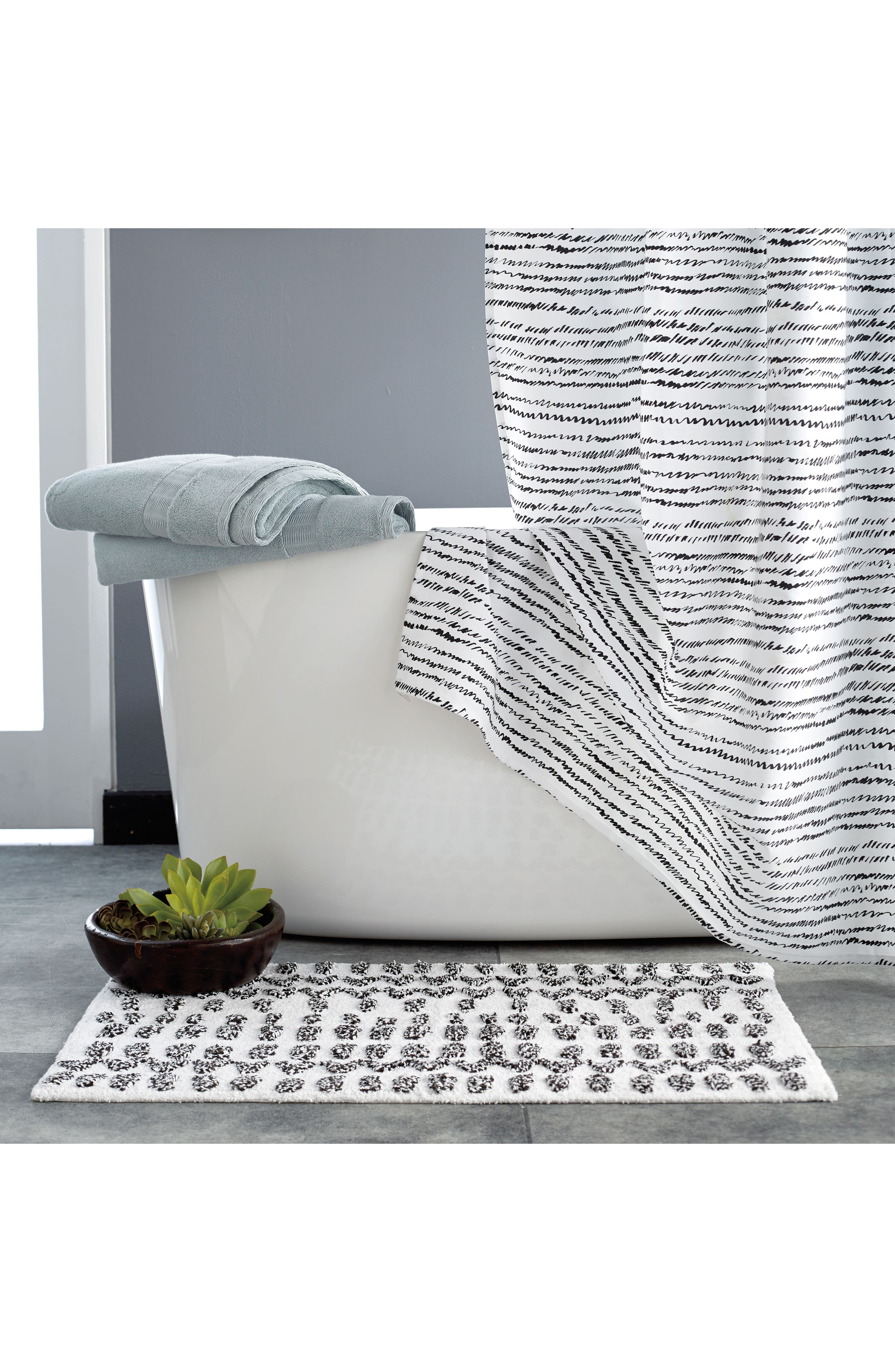 Vibe Bath Rug,                             Alternate thumbnail 2, color,                             Black/ White