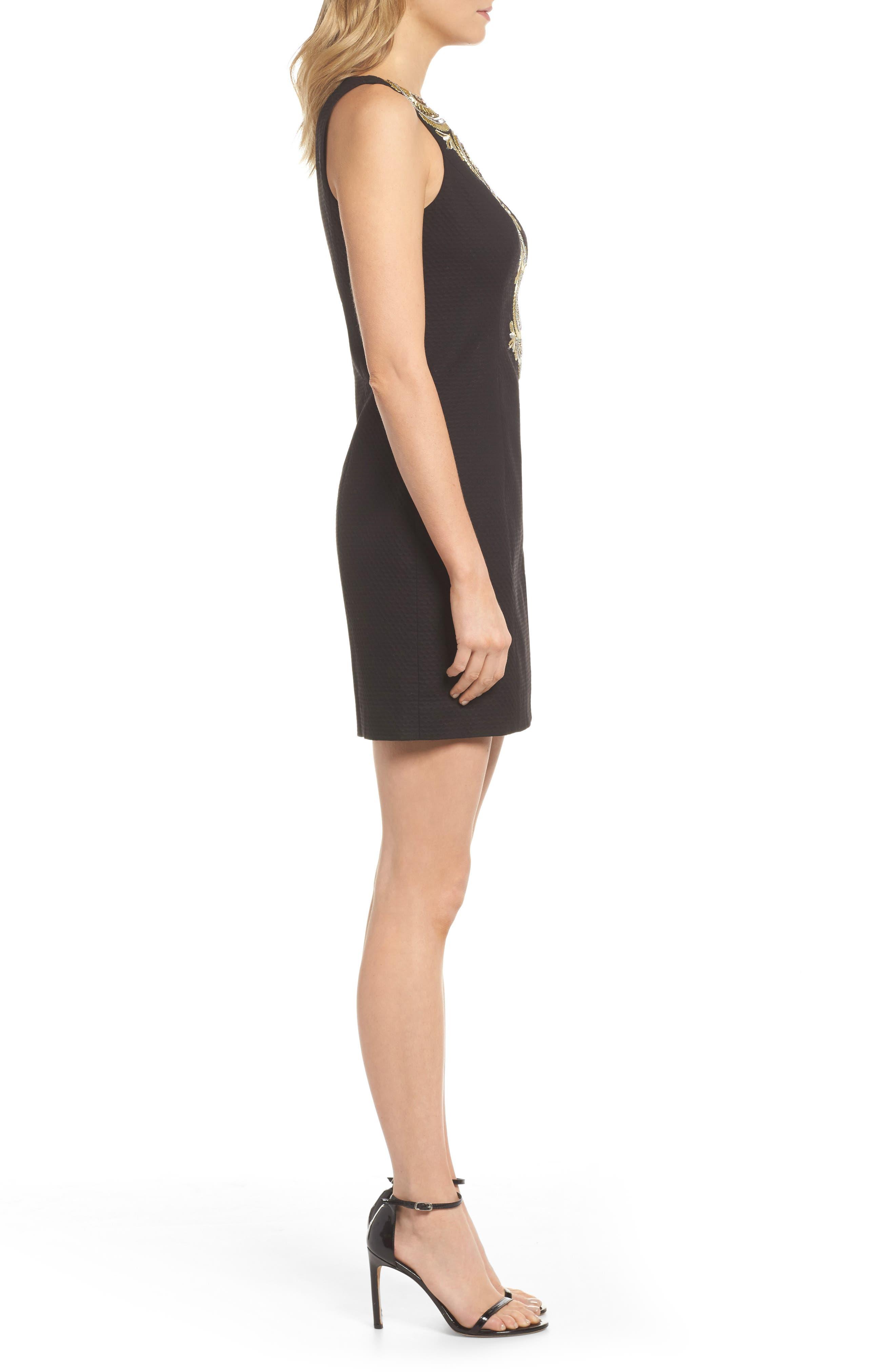 Gabby Sheath Dress,                             Alternate thumbnail 3, color,                             Onyx