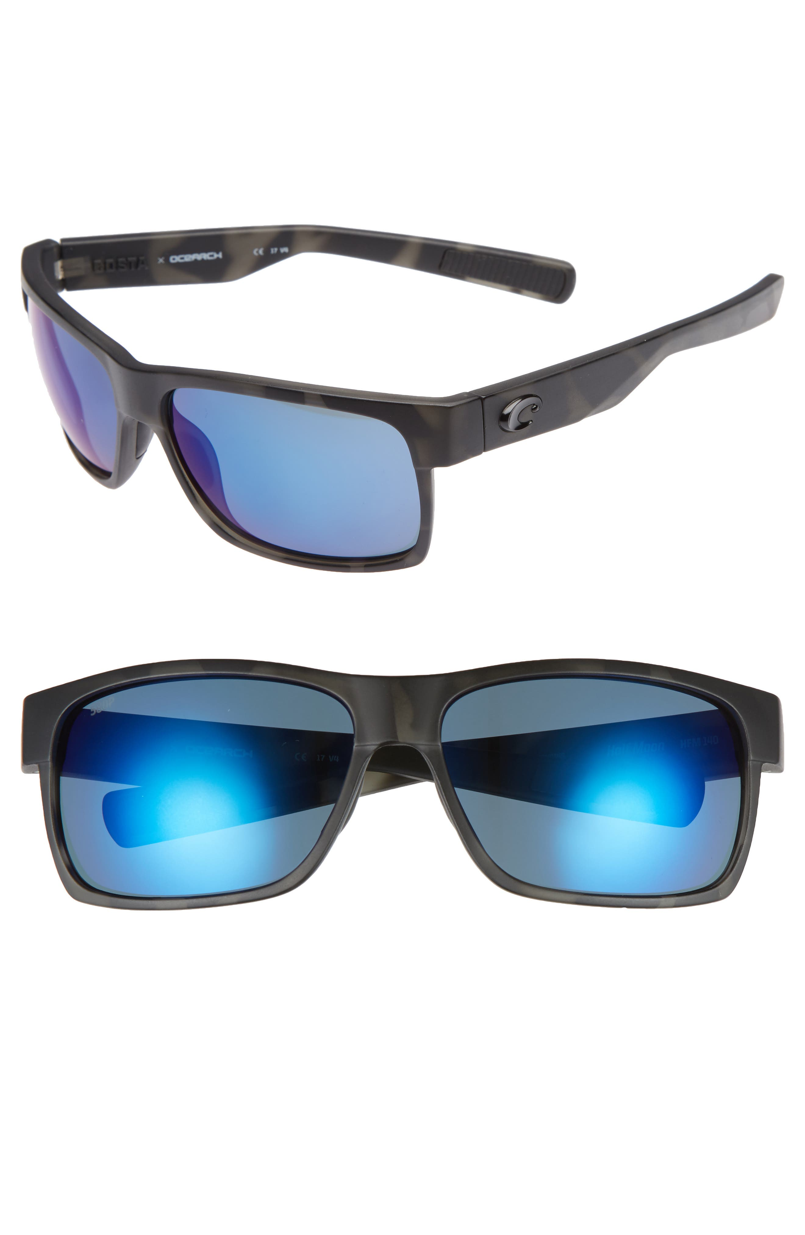 Half Moon 60mm Polarized Sunglasses,                         Main,                         color, Black Tortoise/ Silver Mirror