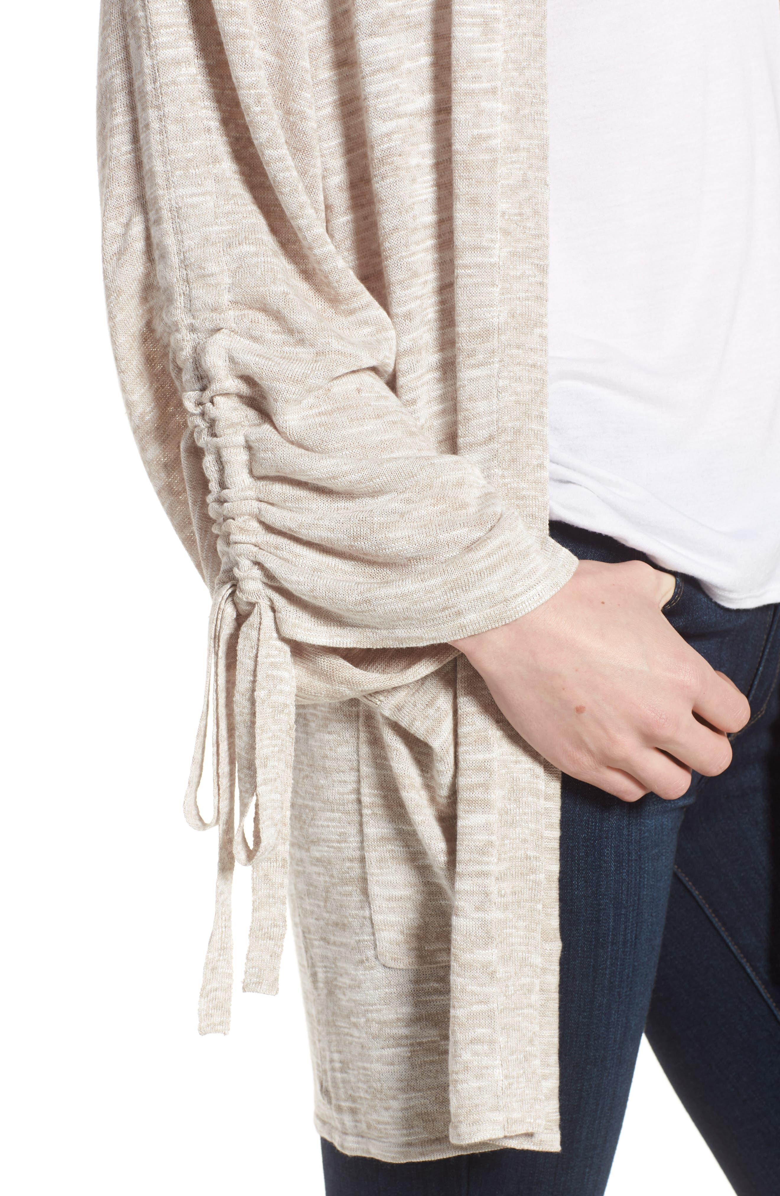 Ruched Sleeve Cardigan,                             Alternate thumbnail 4, color,                             Beige Linen- White Slubs