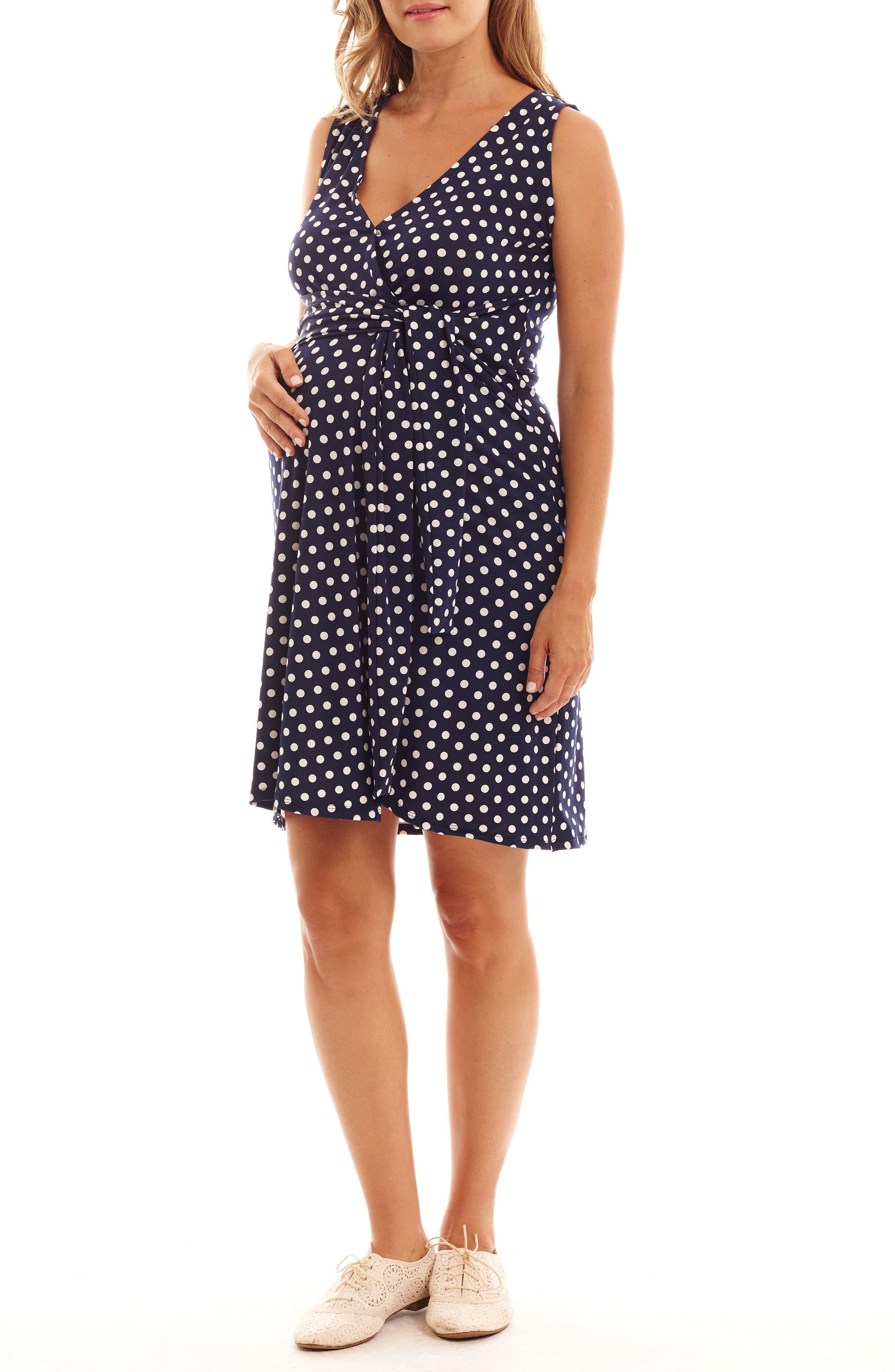 Tobin Print Faux Wrap Maternity/Nursing Dress,                             Main thumbnail 1, color,                             Navy Dot