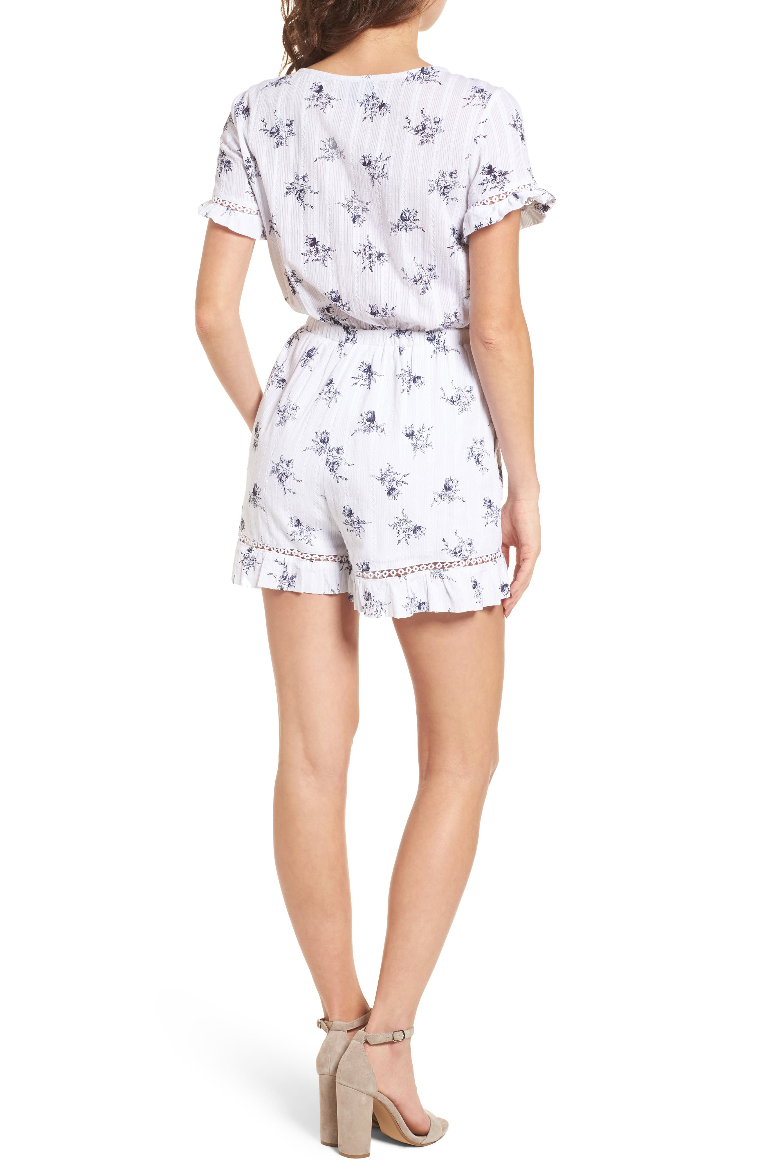 Tie Front Romper,                             Alternate thumbnail 3, color,                             White/ Navy