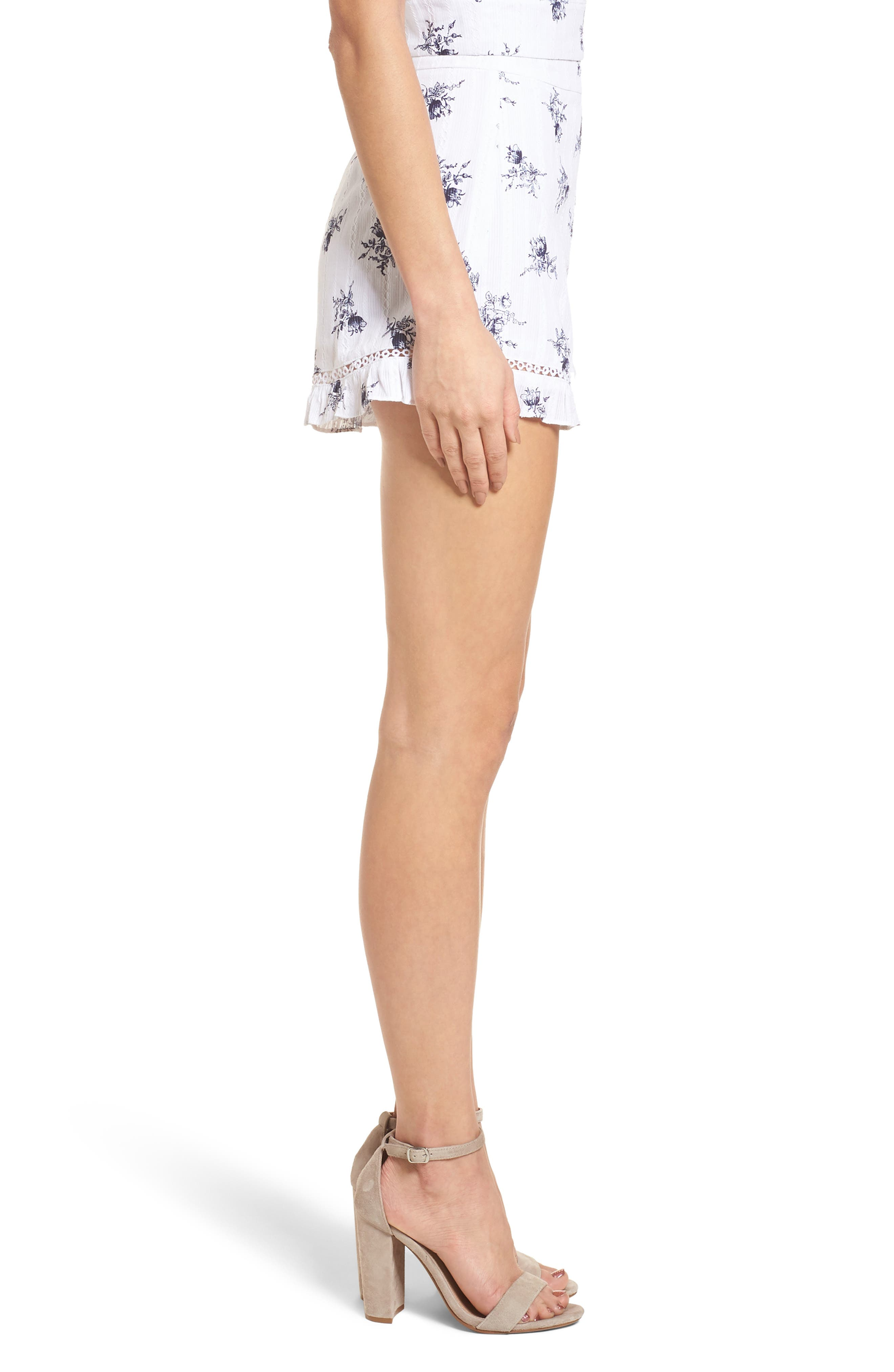 Ruffle Shorts,                             Alternate thumbnail 5, color,                             White/ Navy