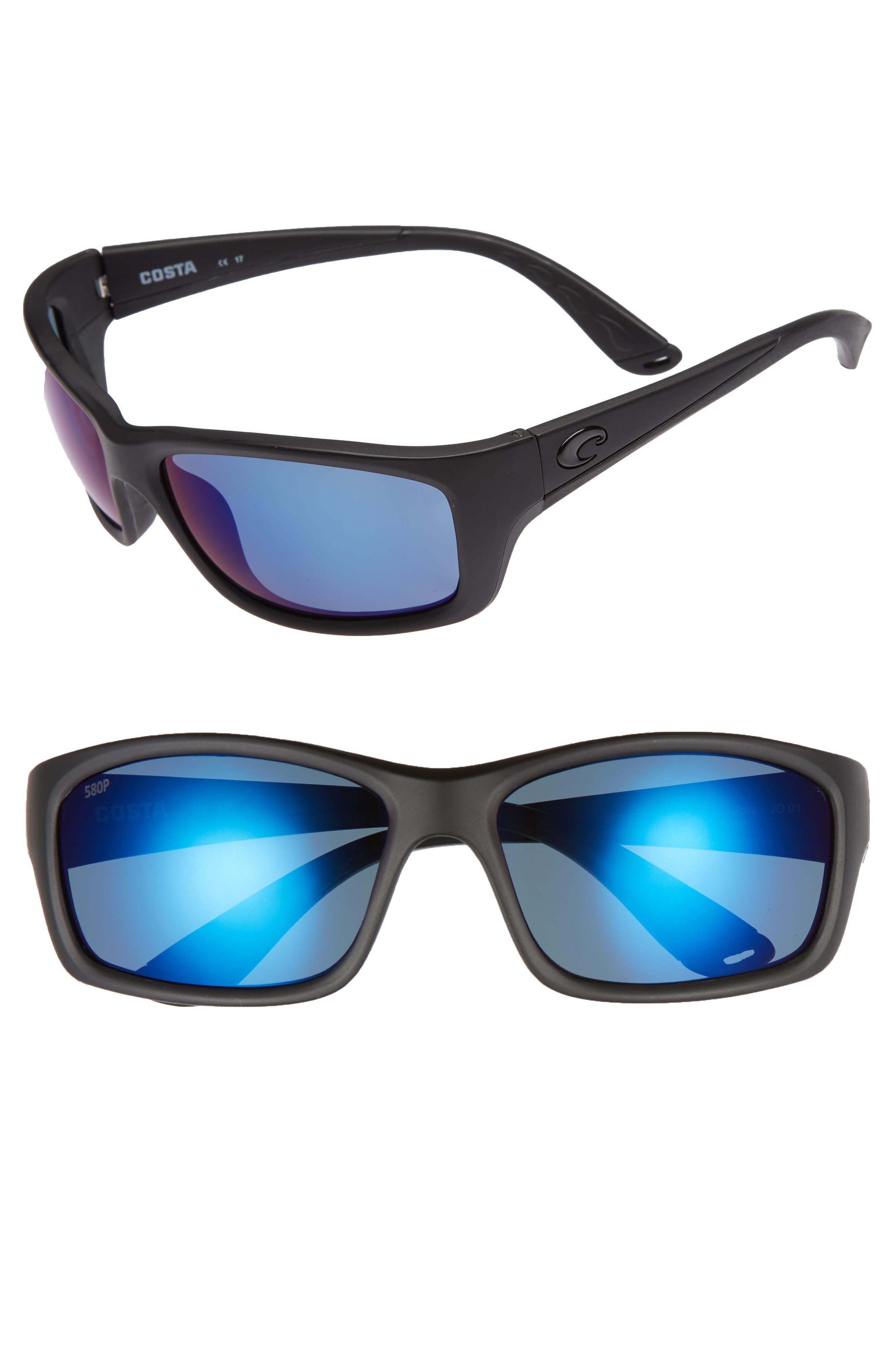 Jose 60mm Polarized Sunglasses,                             Main thumbnail 1, color,                             Blackout/ Blue Mirror