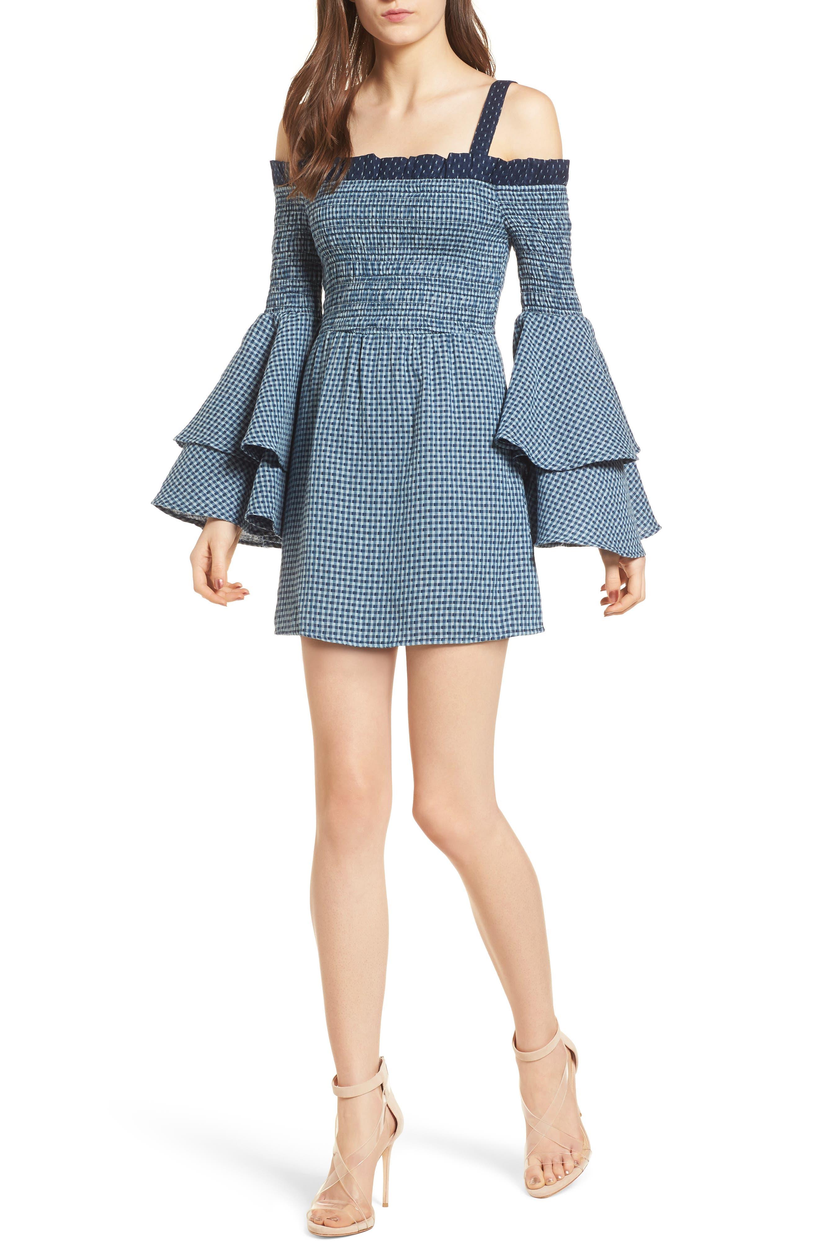 Nicki Cold Shoulder Minidress,                             Main thumbnail 1, color,                             Sea