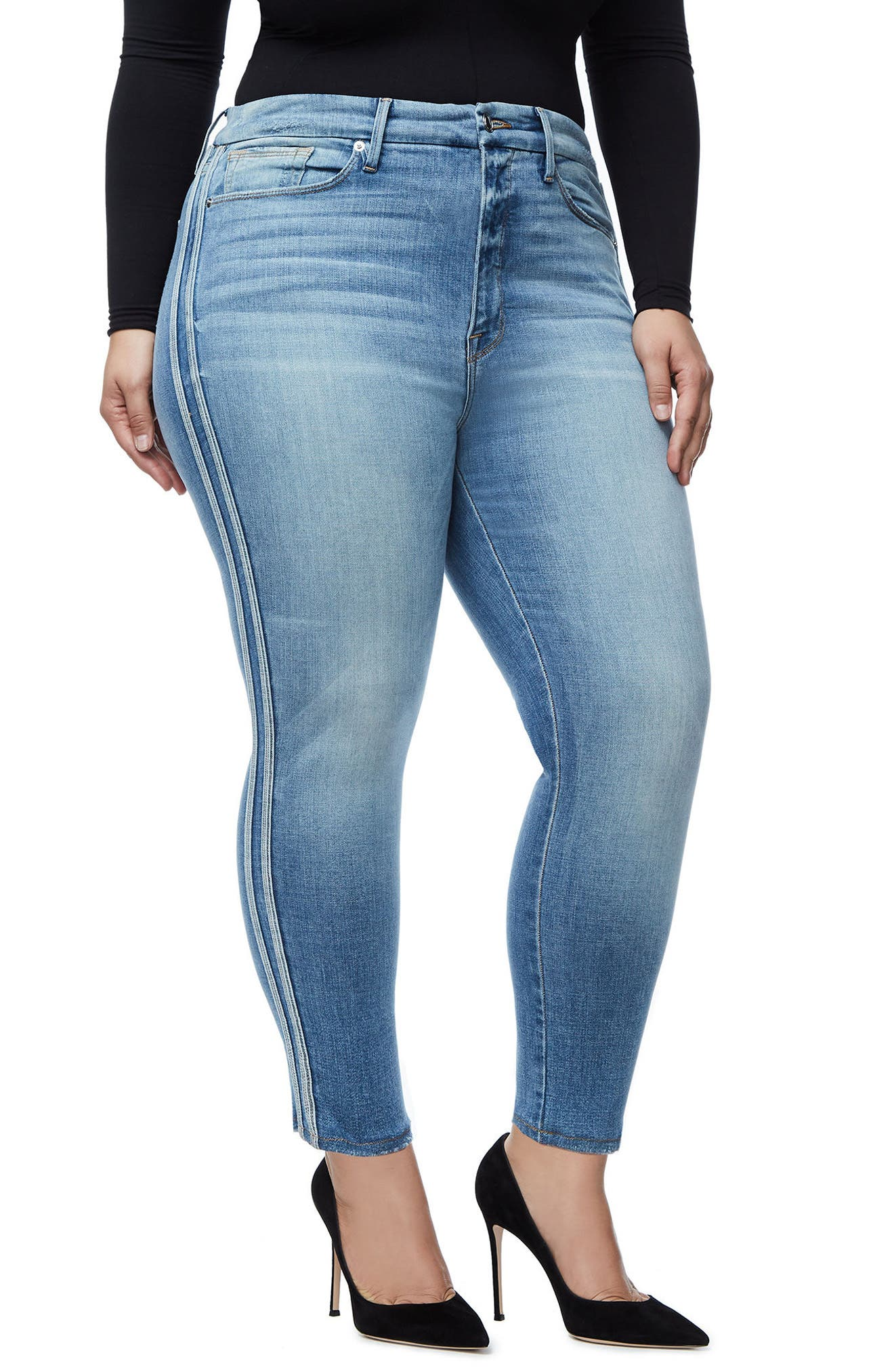 Good Waist Athletic Stripe High Waist Ankle Straight Leg Jeans,                             Alternate thumbnail 4, color,                             Blue121