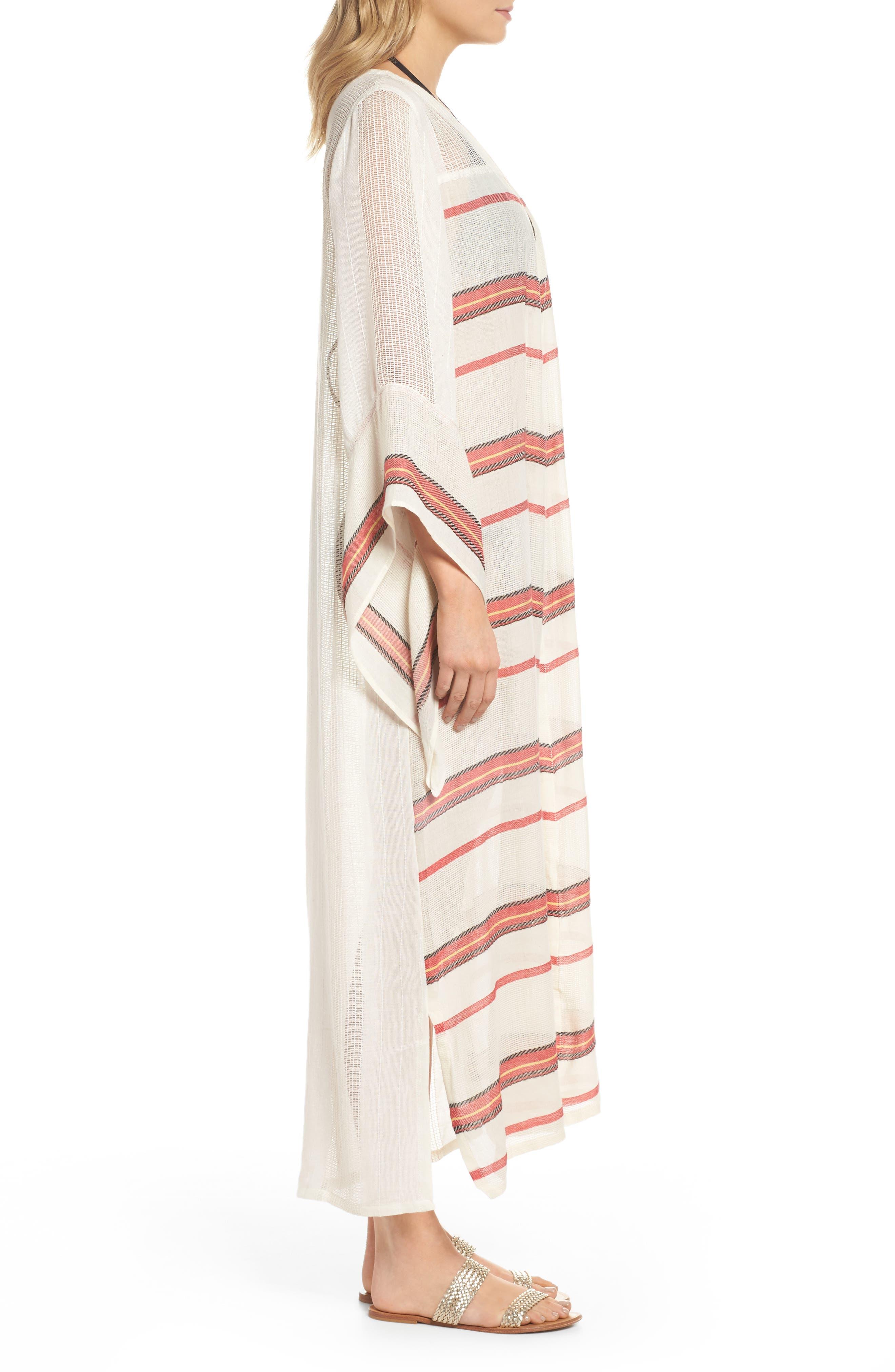 Paradise Cover-Up Kimono,                             Alternate thumbnail 3, color,                             Natural Stripe