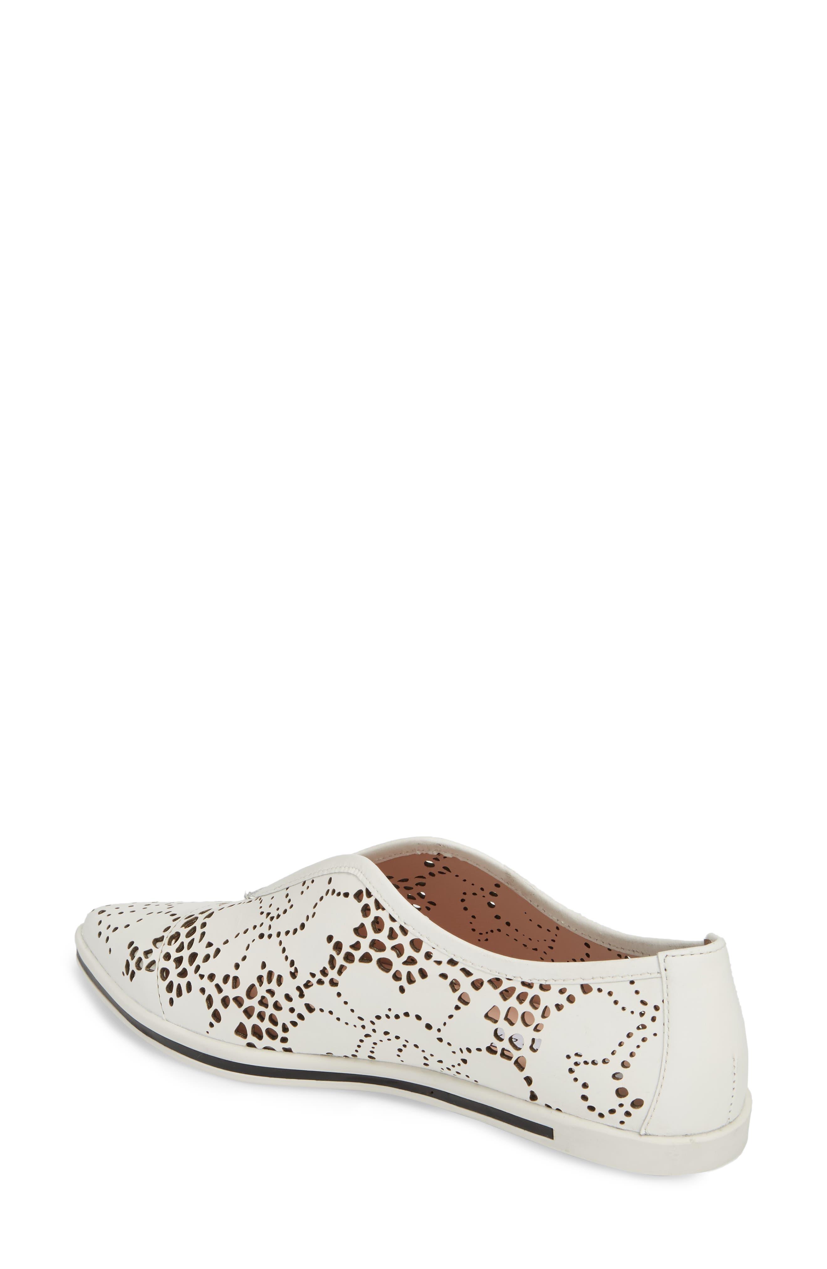 Tisha II Slip-On Sneaker,                             Alternate thumbnail 2, color,                             White Leather