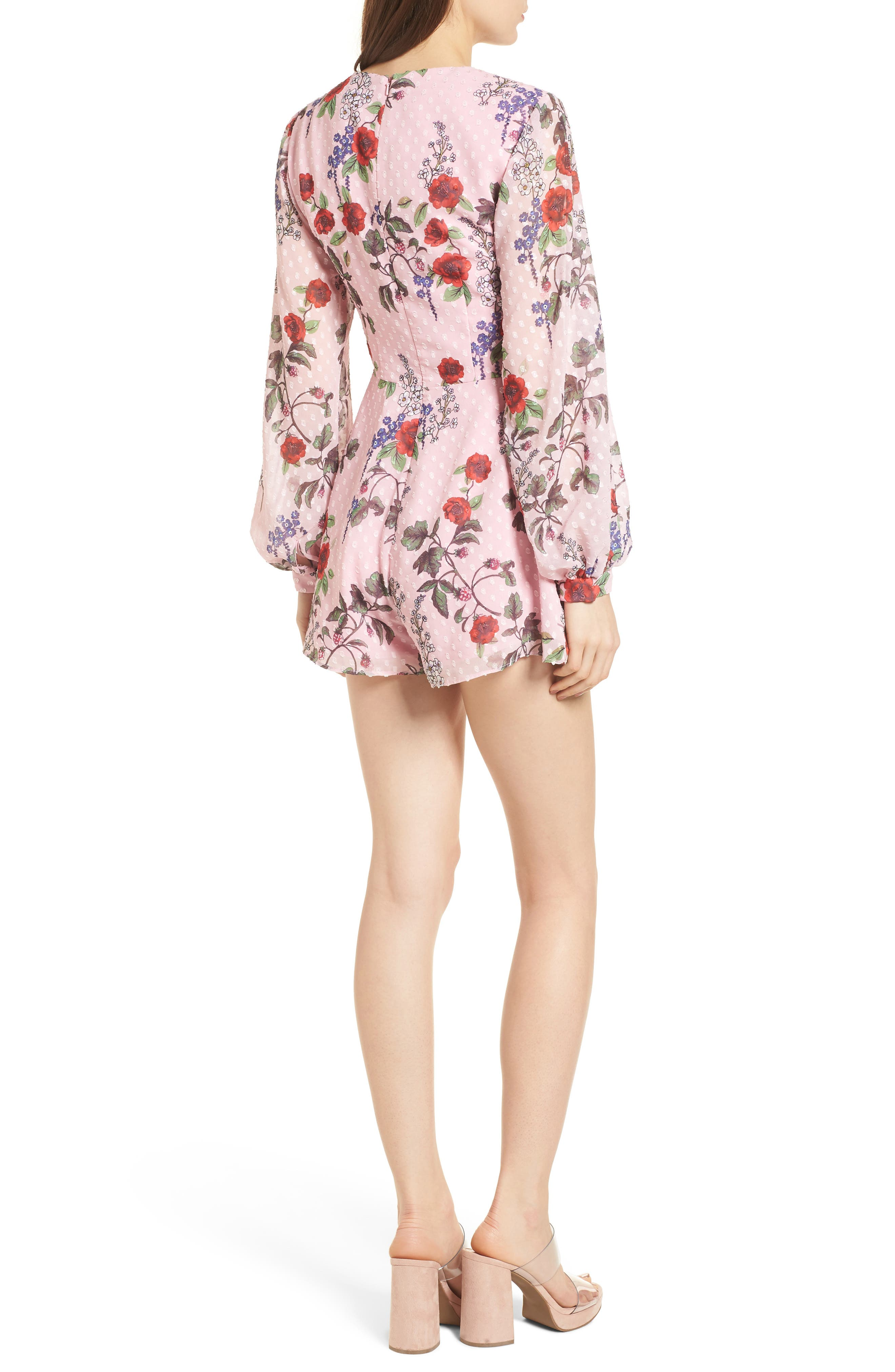 Need You Now Romper,                             Alternate thumbnail 3, color,                             Powder Pink Floral