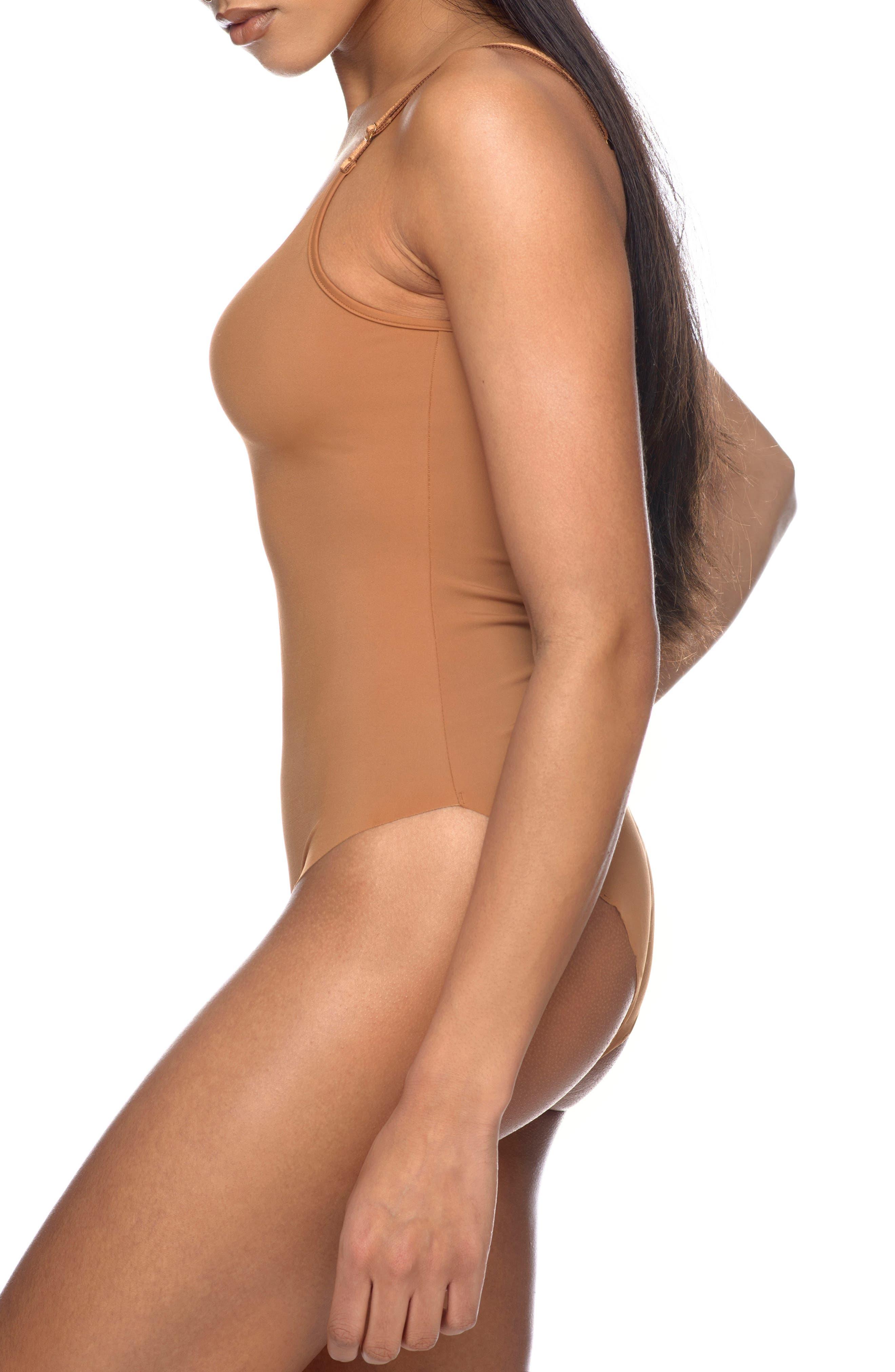 Naked Bodysuit,                             Alternate thumbnail 3, color,                             Caramel