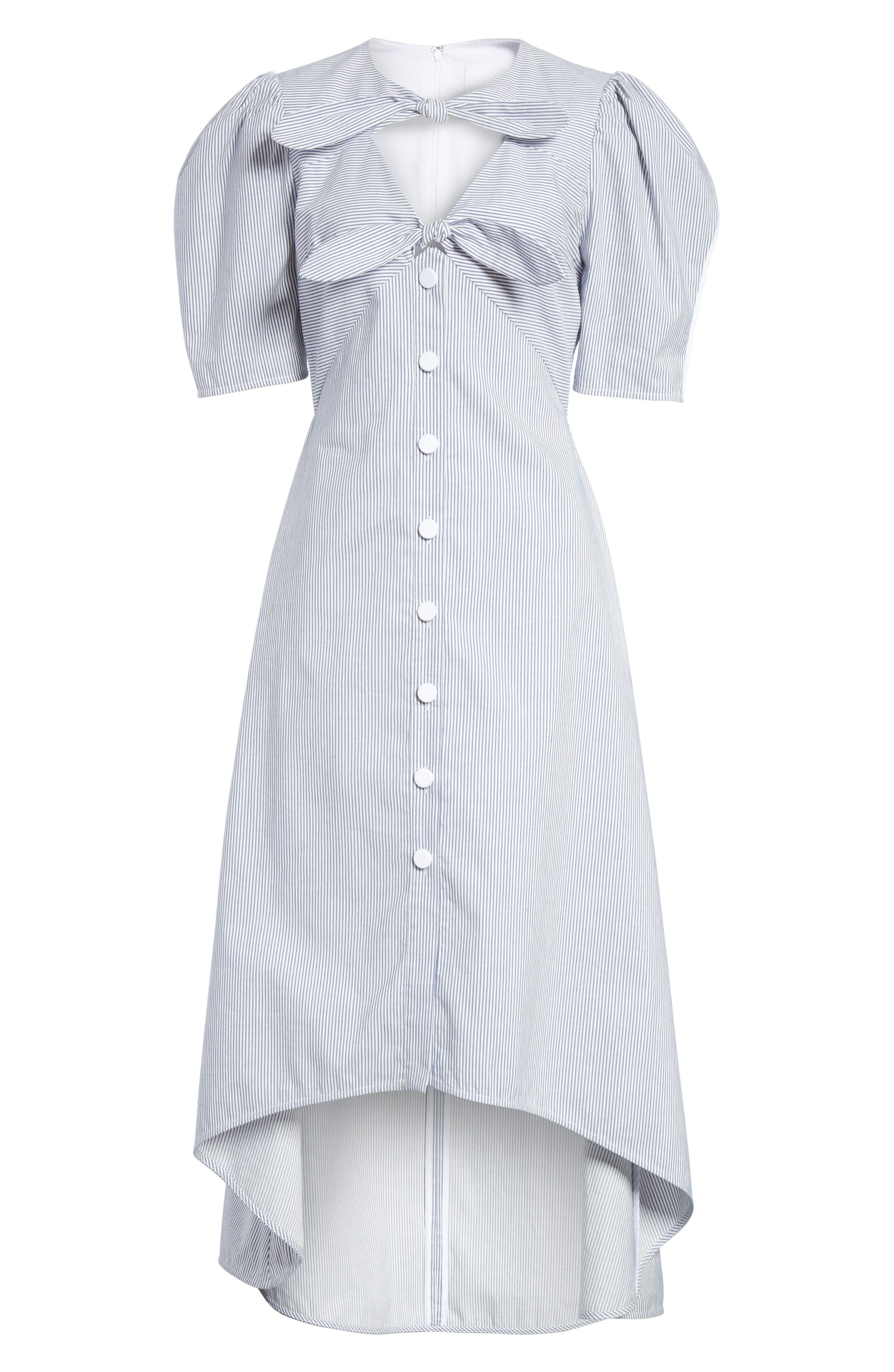 Prose & Poetry Camila Double Front Tie Midi Dress,                             Alternate thumbnail 6, color,                             Canvas Stripe