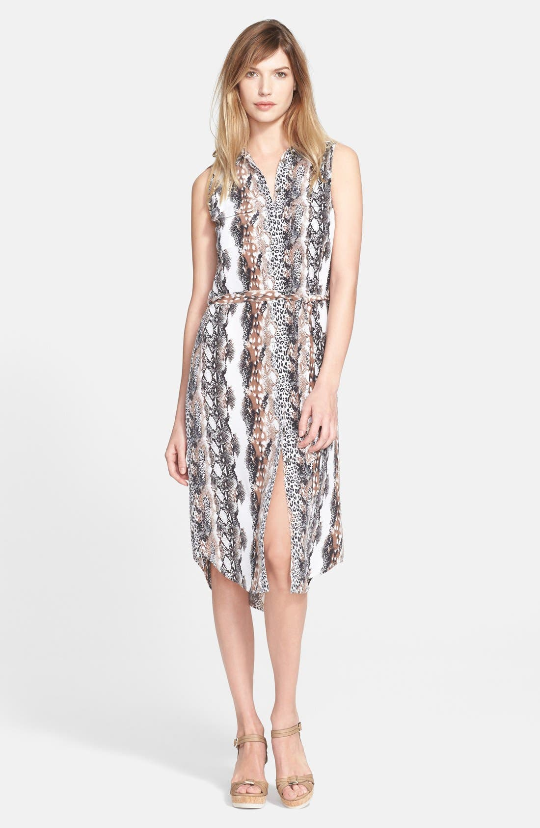 'Teagan' Print Silk Dress,                             Main thumbnail 1, color,                             Bright White Multi