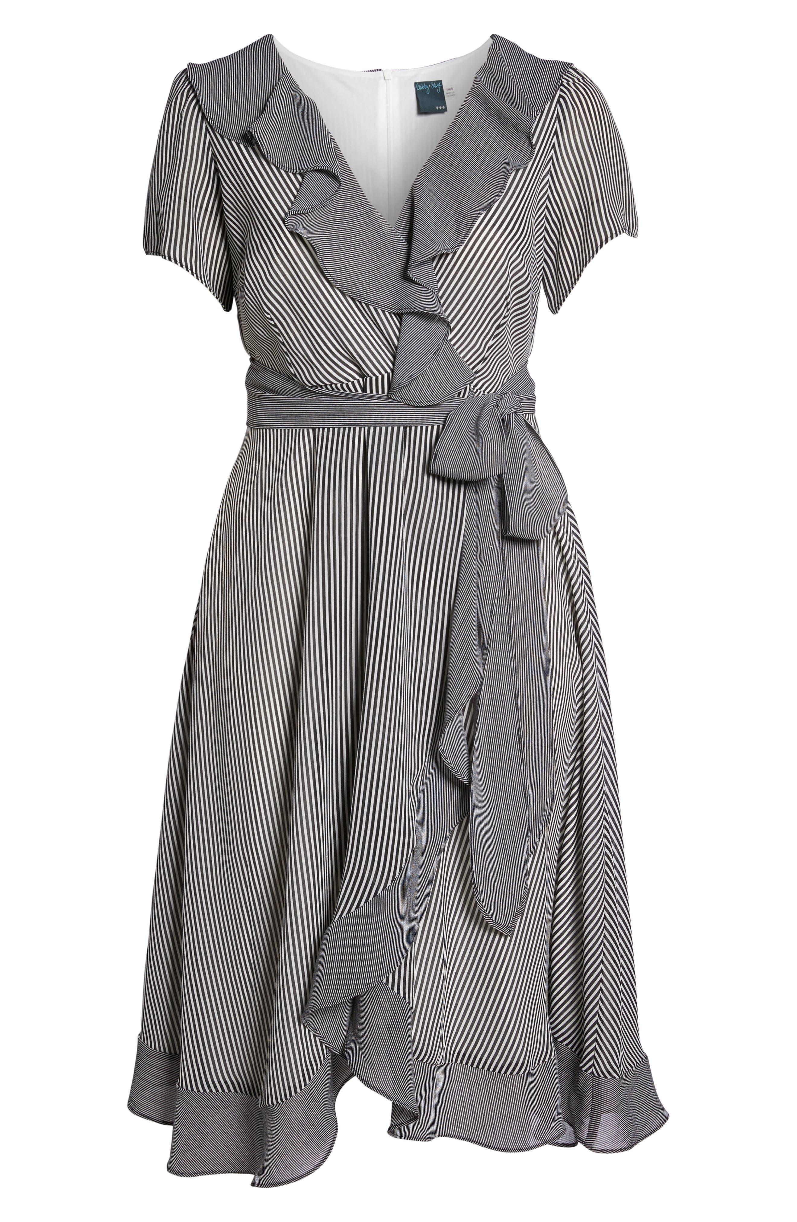 Ruffle Stripe Faux Wrap Midi Dress,                             Alternate thumbnail 5, color,                             Ivory/ Black