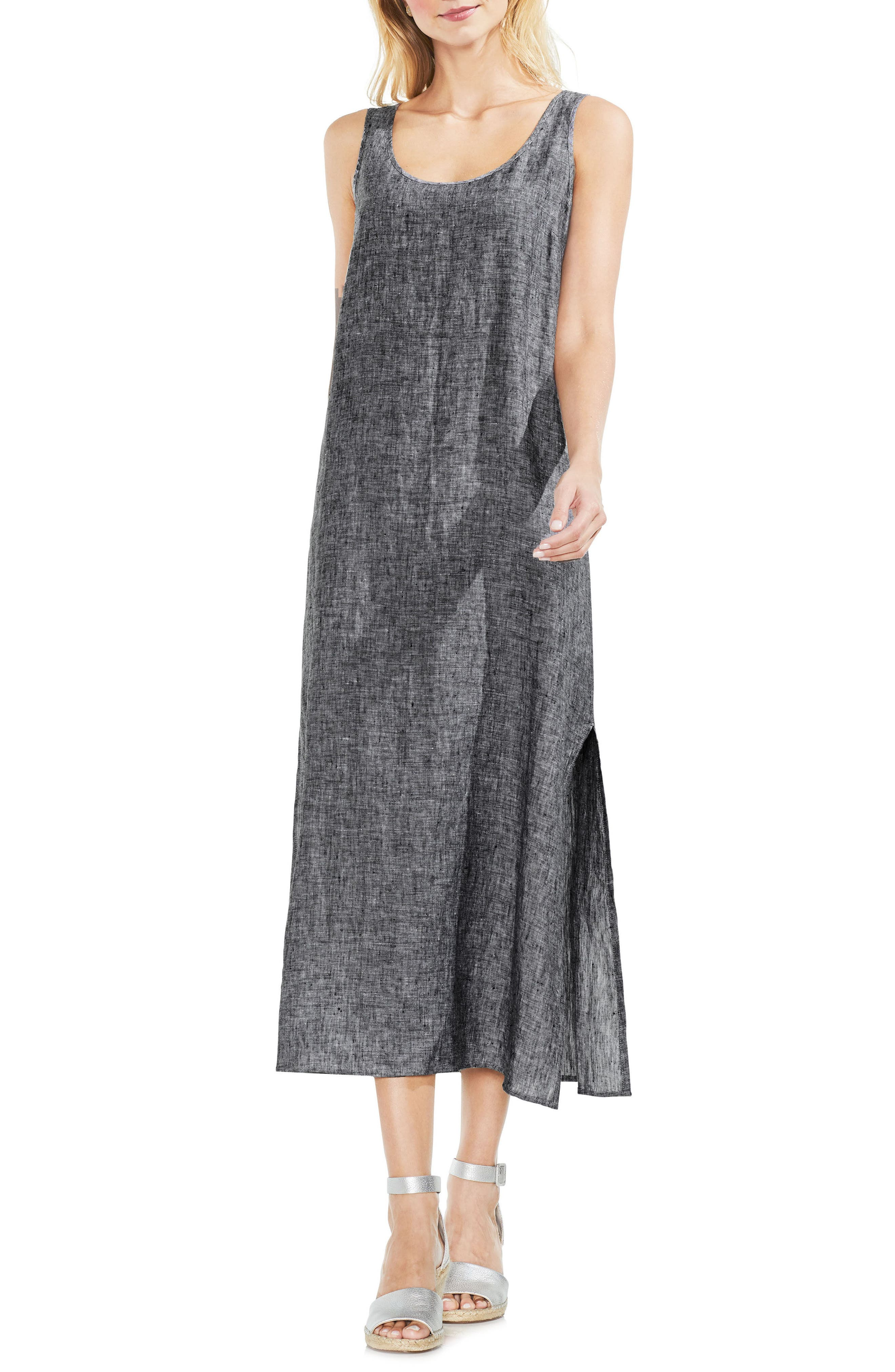 Cross Dye Sleeveless Maxi Dress,                         Main,                         color, Rich Black