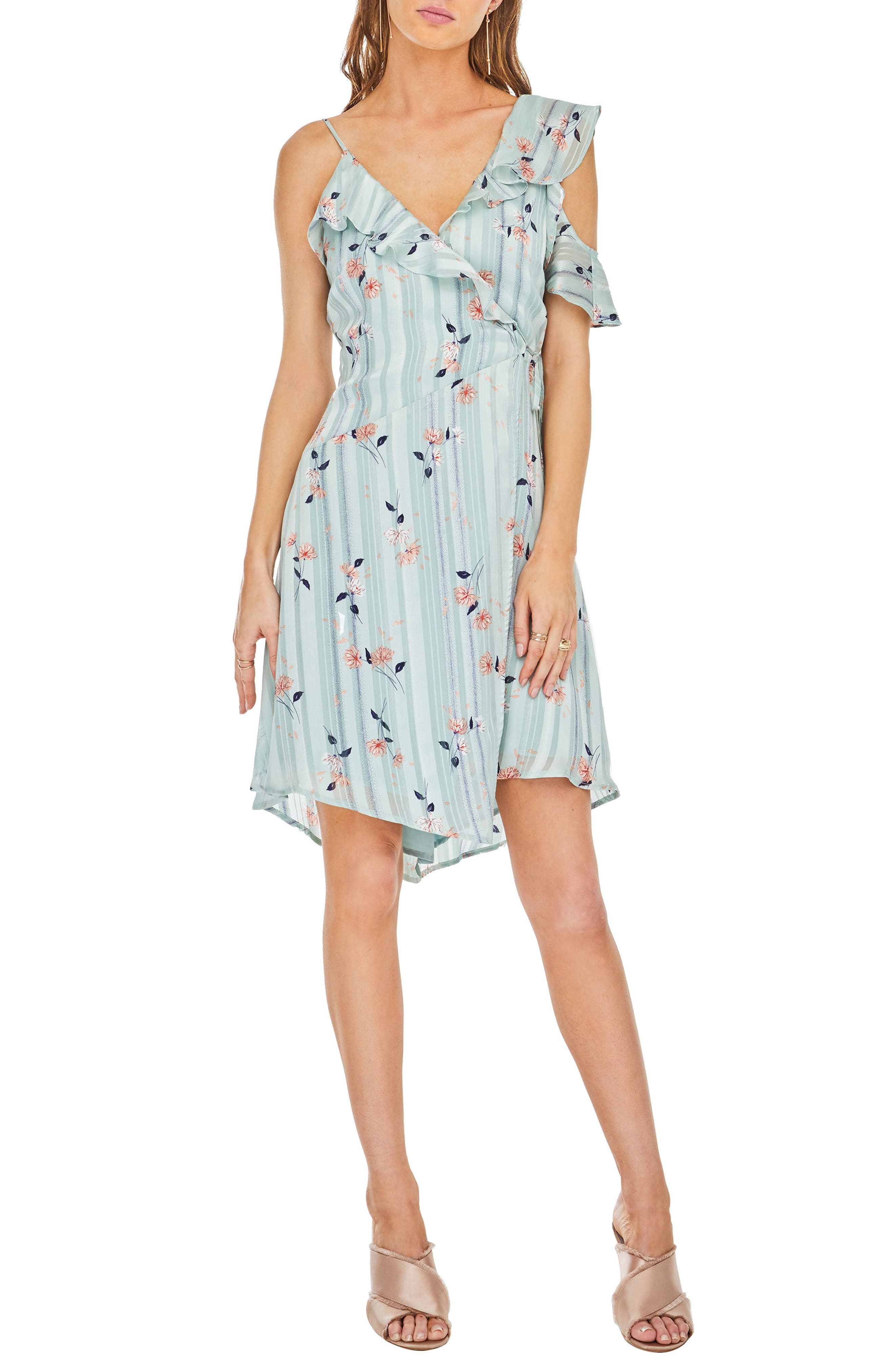 Josie Ruffle Dress,                             Main thumbnail 1, color,                             Mint Satin Floral