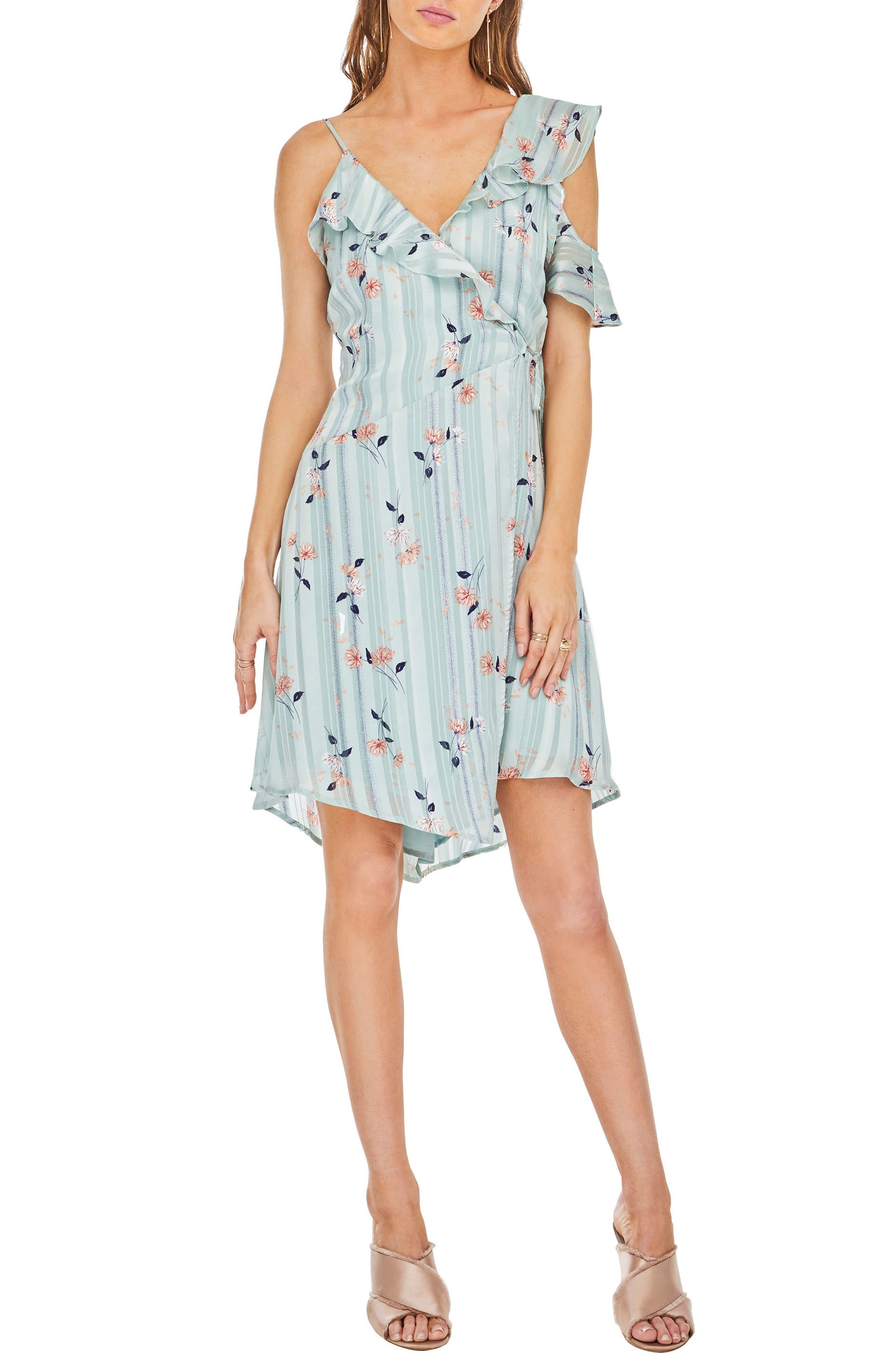 Josie Ruffle Dress,                         Main,                         color, Mint Satin Floral
