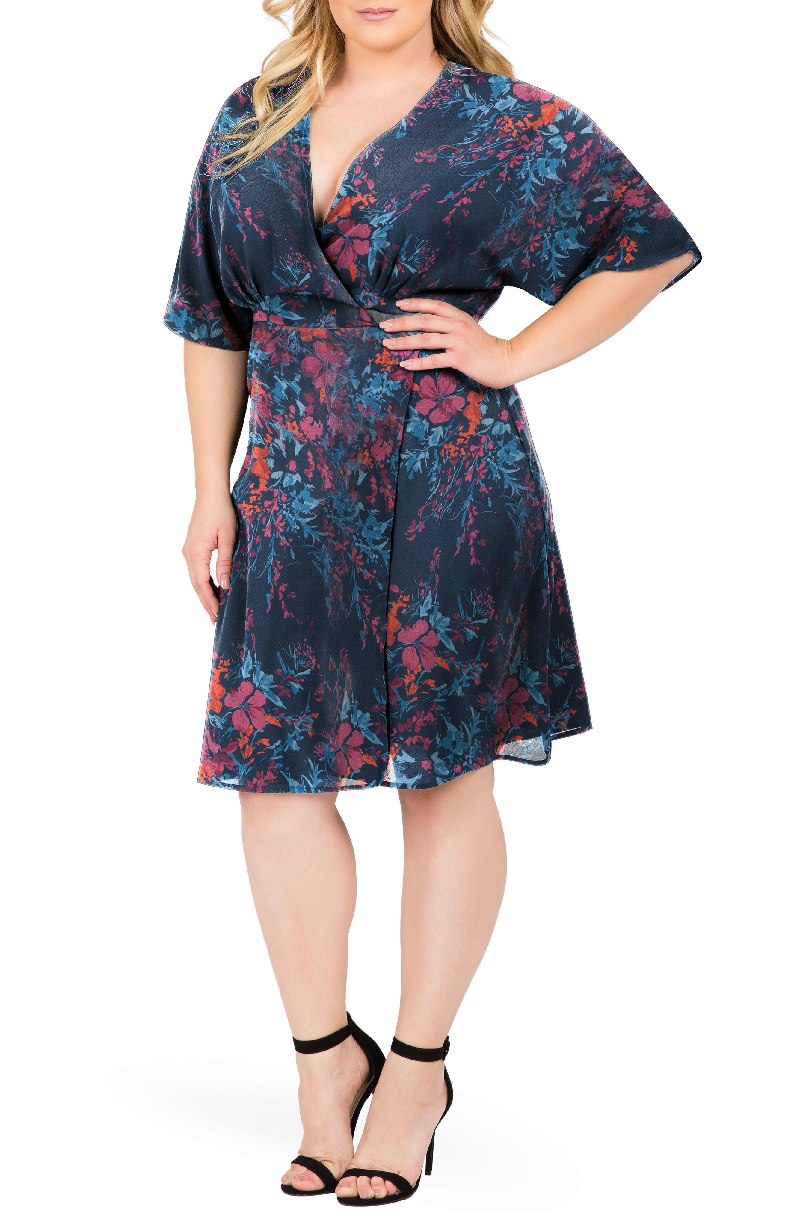 Candice Floral Wrap Dress,                             Main thumbnail 1, color,                             Floral Print
