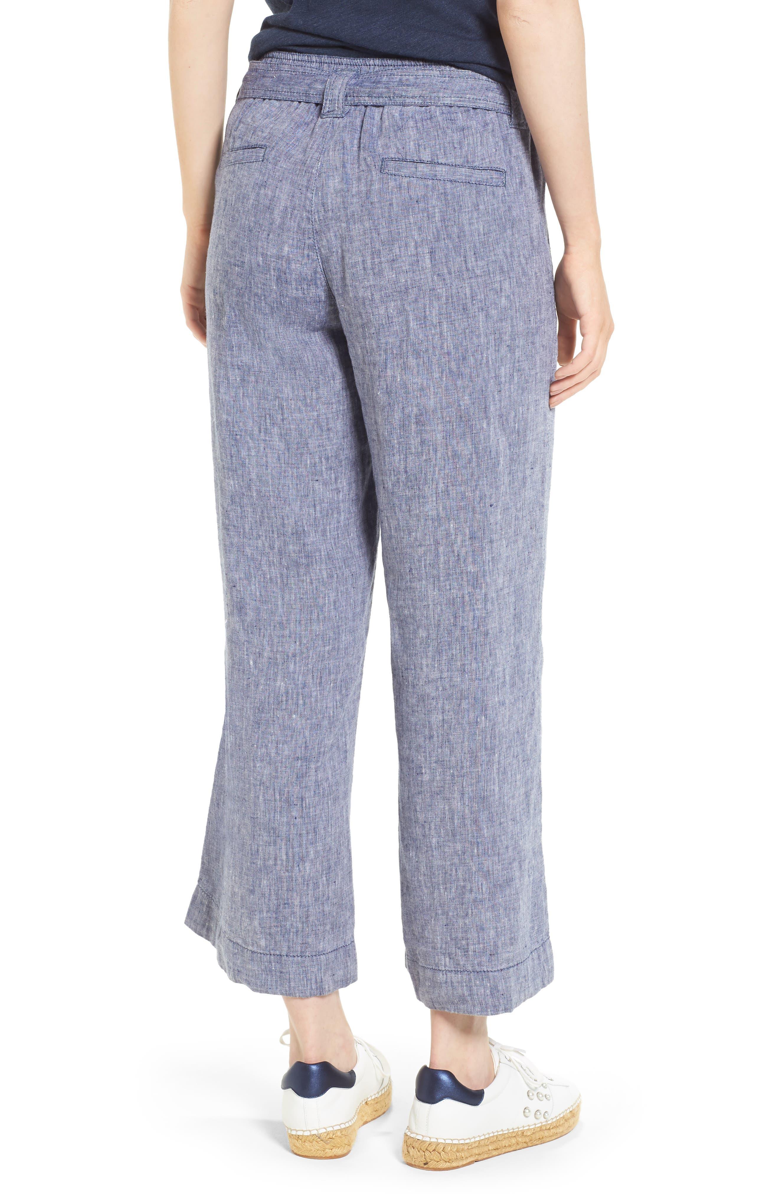 Wide Leg Crop Linen Pants,                             Alternate thumbnail 2, color,                             Navy Crossdye