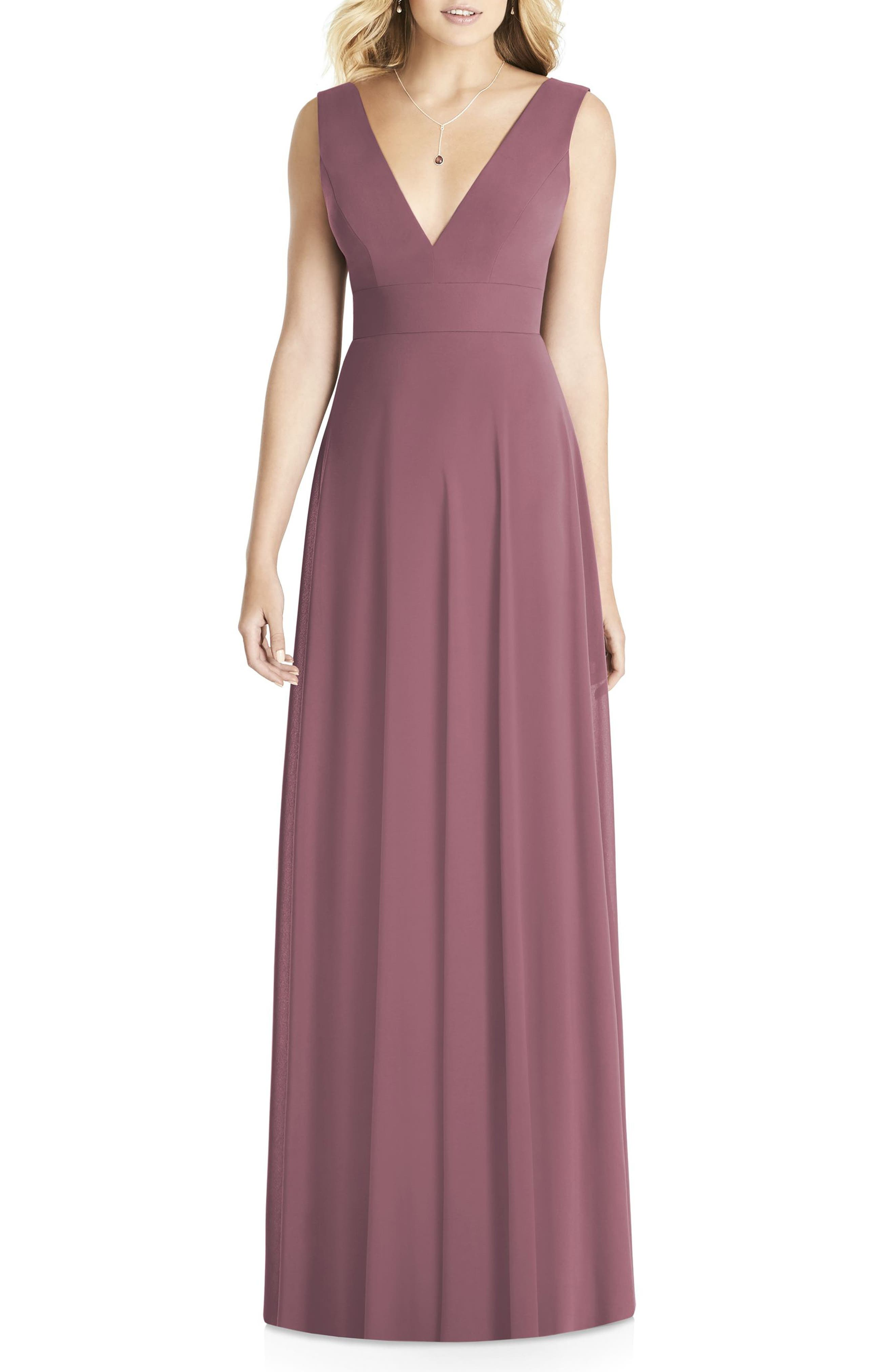 Matte Chiffon Gown,                         Main,                         color, English Rose