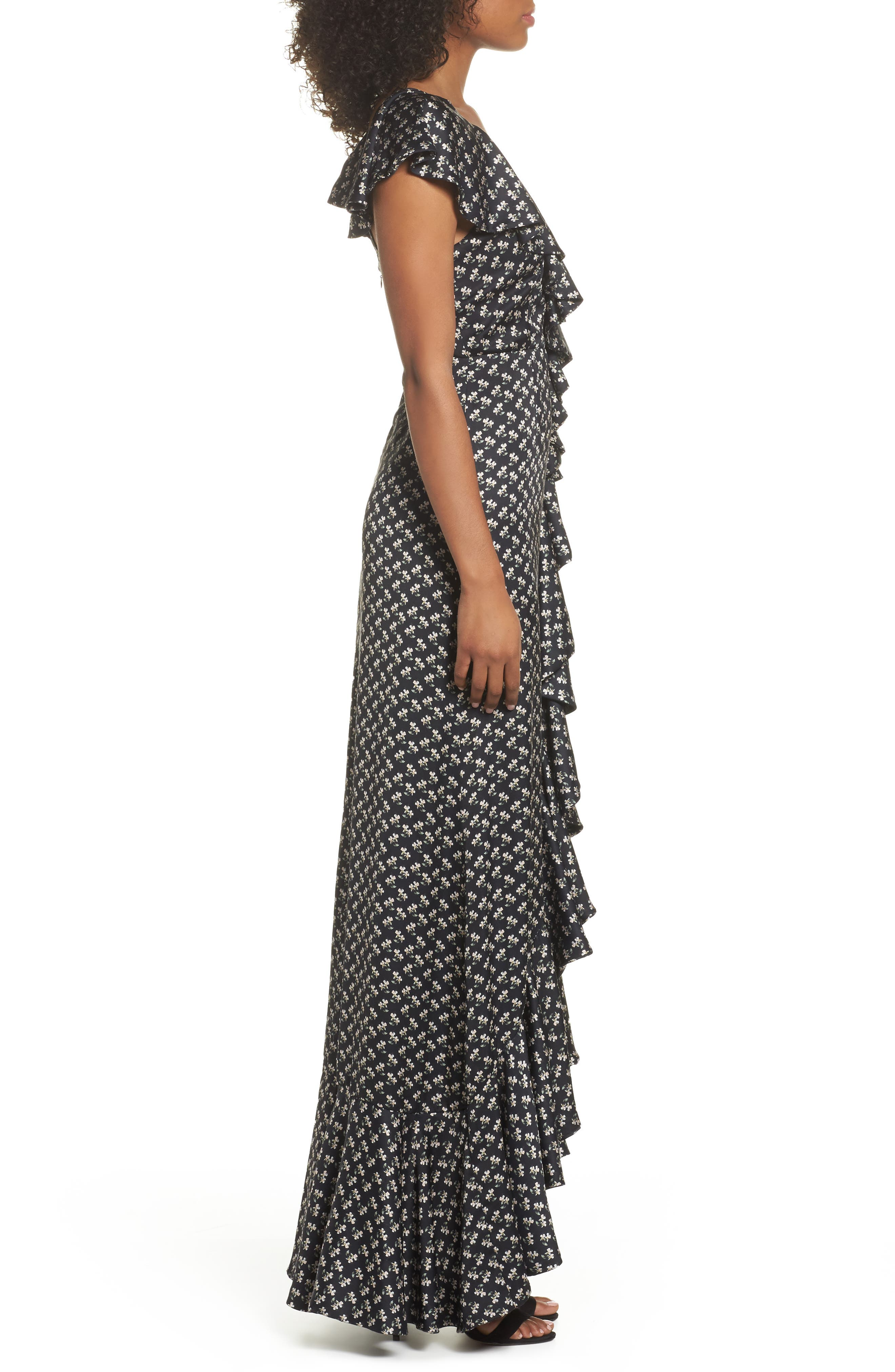 One-Shoulder Ruffle Gown,                             Alternate thumbnail 3, color,                             Kiera Print