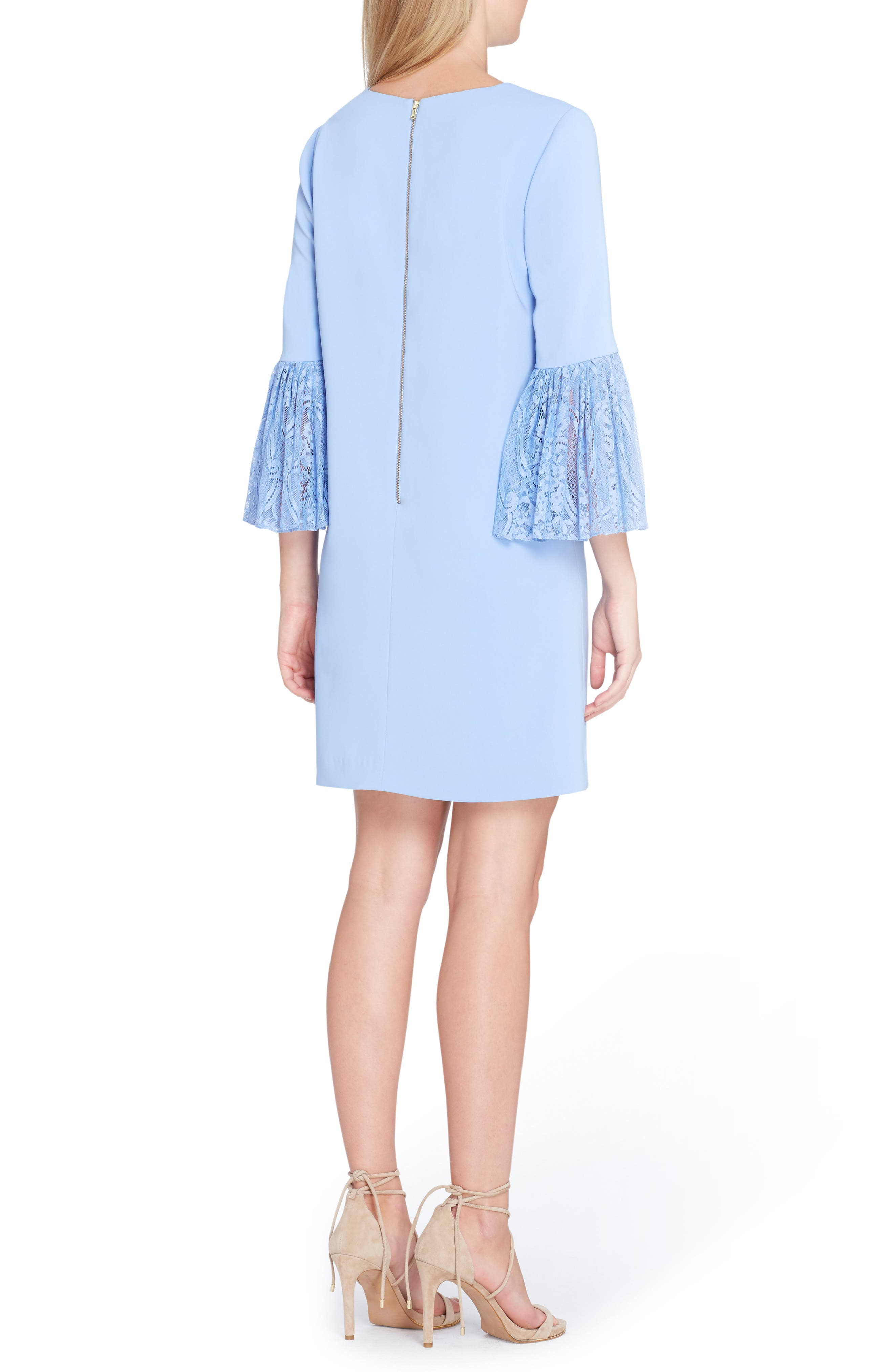 Bell Sleeve Shift Dress,                             Alternate thumbnail 2, color,                             Periwinkle