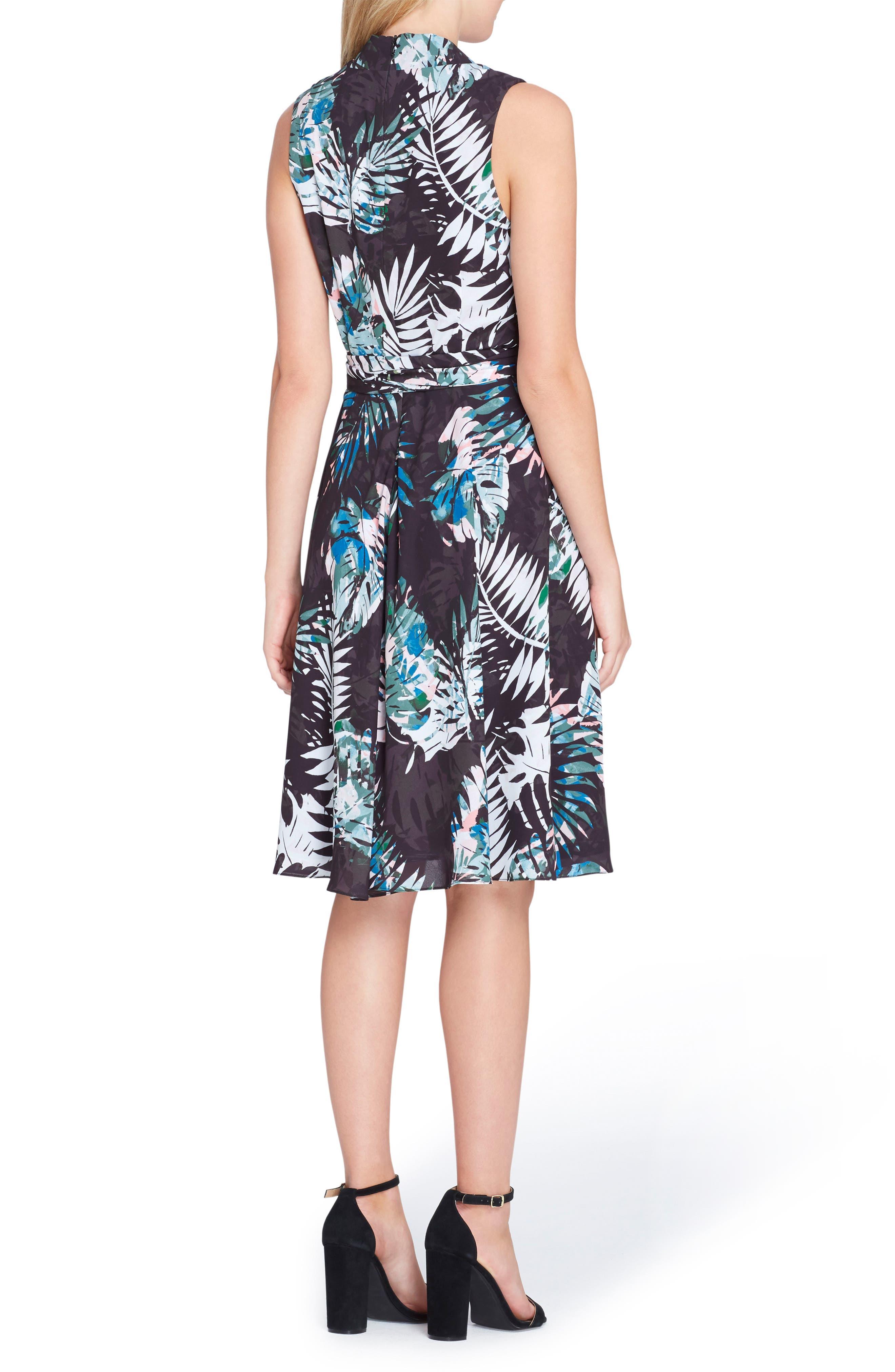 Print Faux Wrap Dress,                             Alternate thumbnail 2, color,                             Black/ Coral/ Blue
