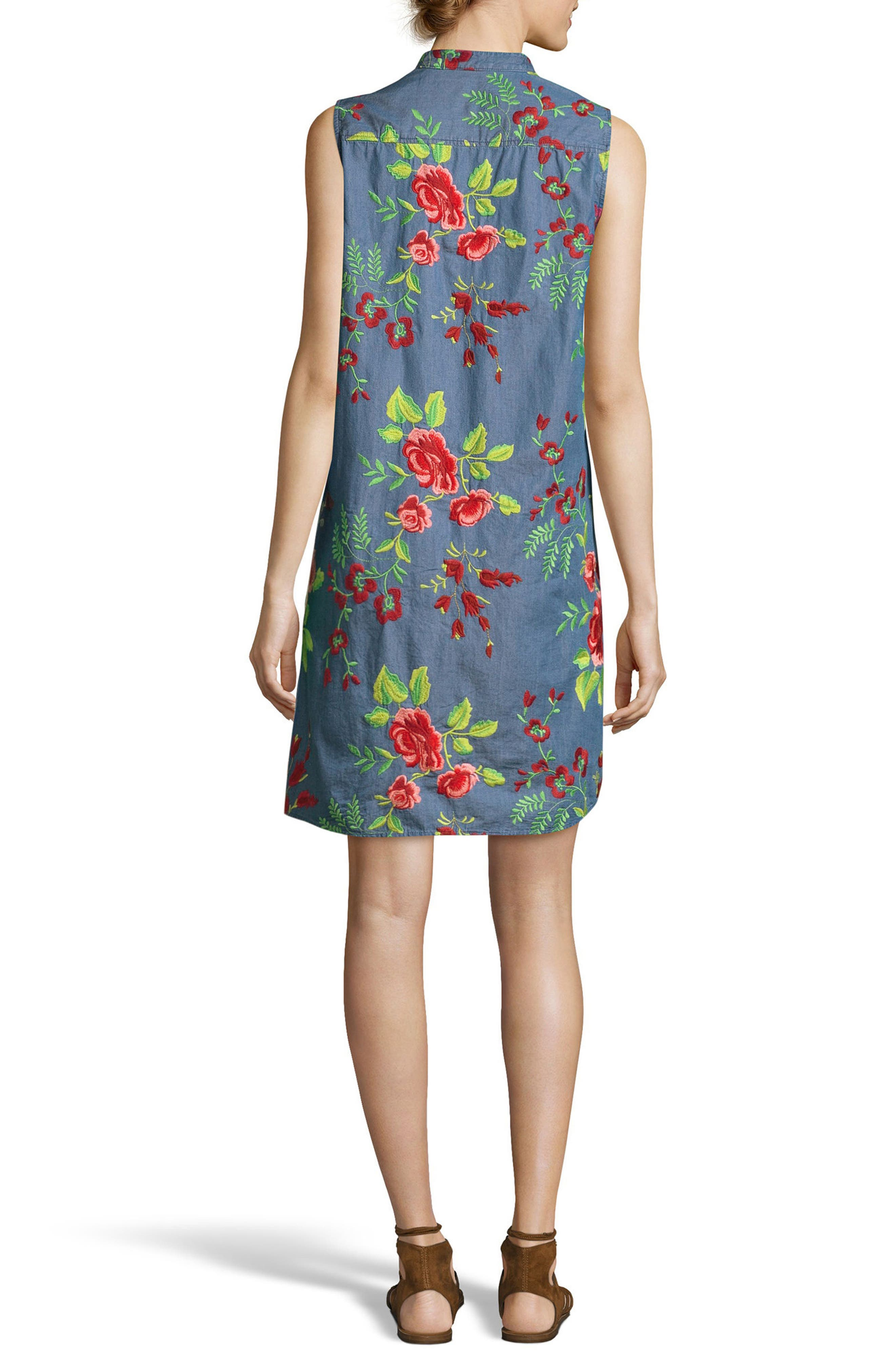 Embroidered Denim Shift Dress,                             Alternate thumbnail 2, color,                             Pink / Green