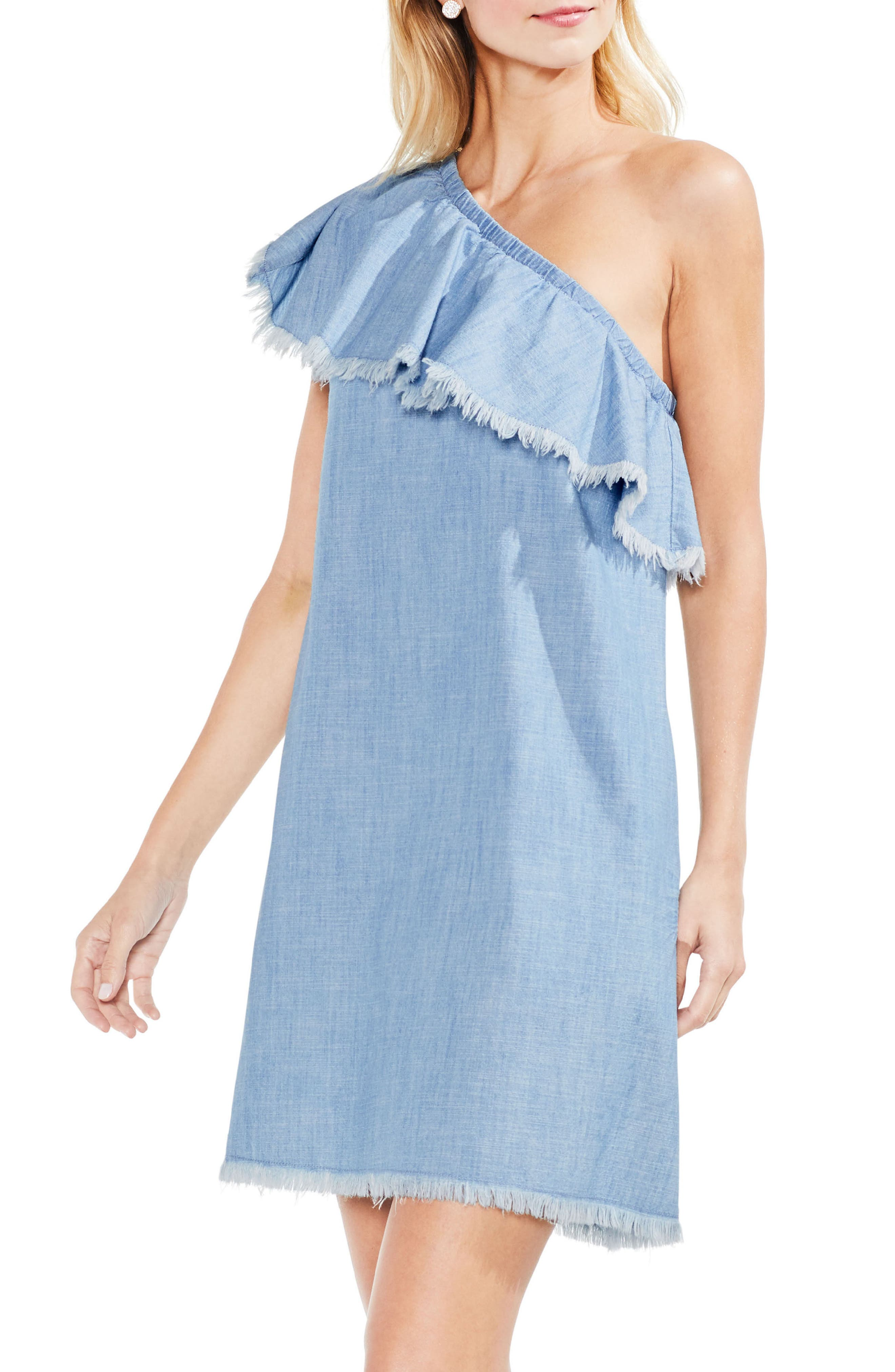 Frayed Ruffle One-Shoulder Chambray Dress,                         Main,                         color, Ice Lagoon