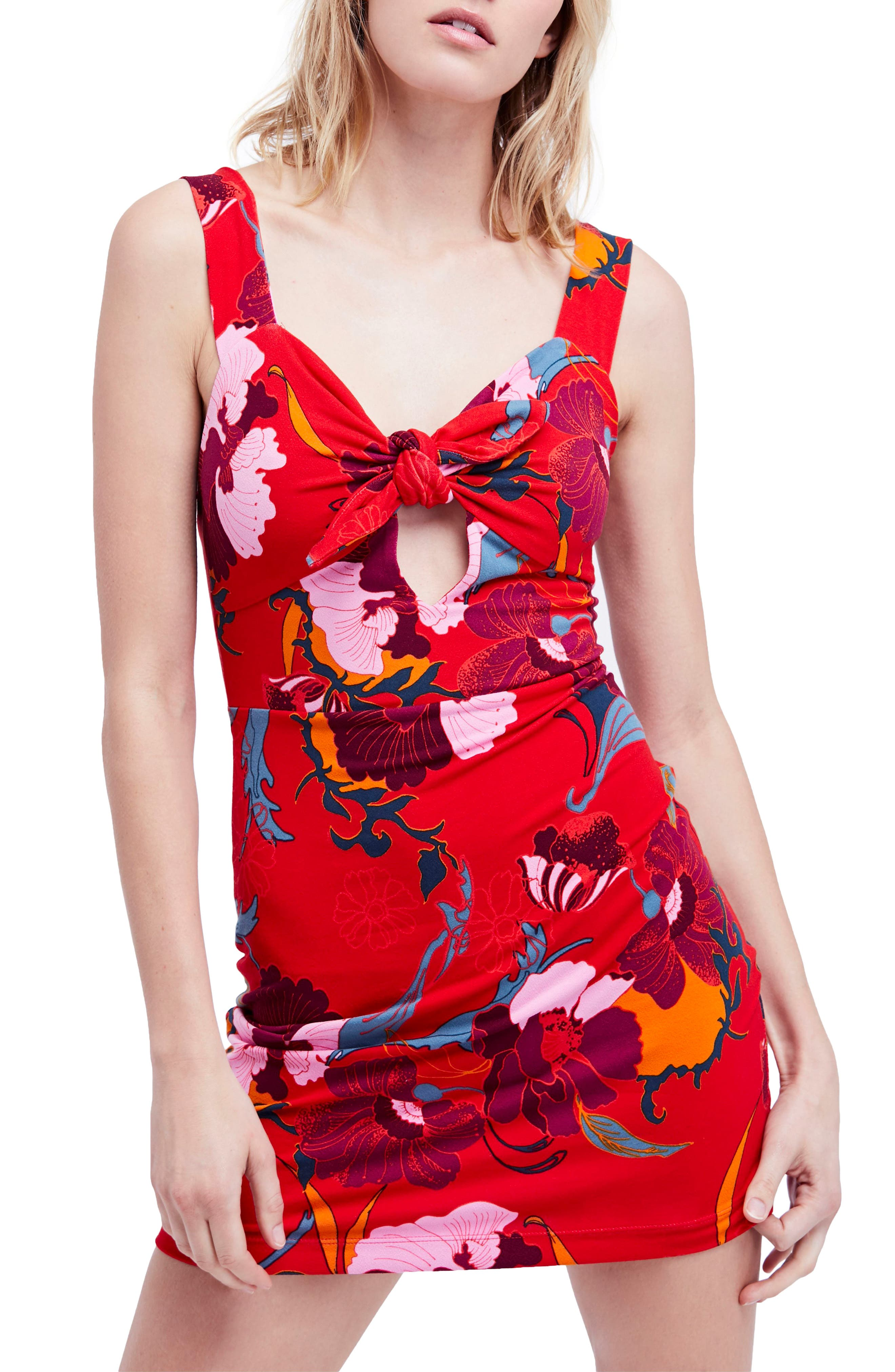 Sweet Cherry Front Tie Minidress,                         Main,                         color, Red