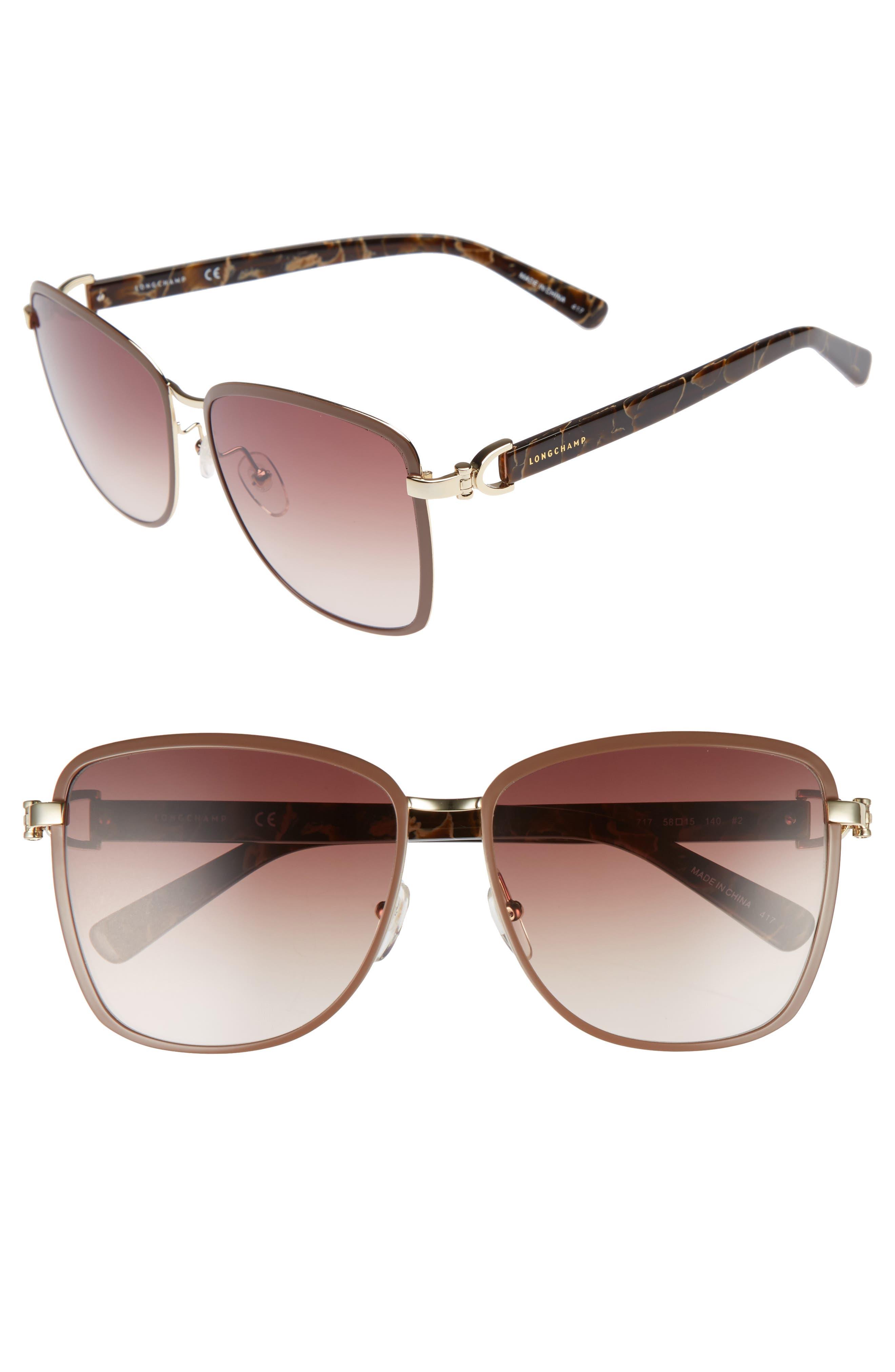 58mm Metal Sunglasses,                             Main thumbnail 1, color,                             Gold/ Brown