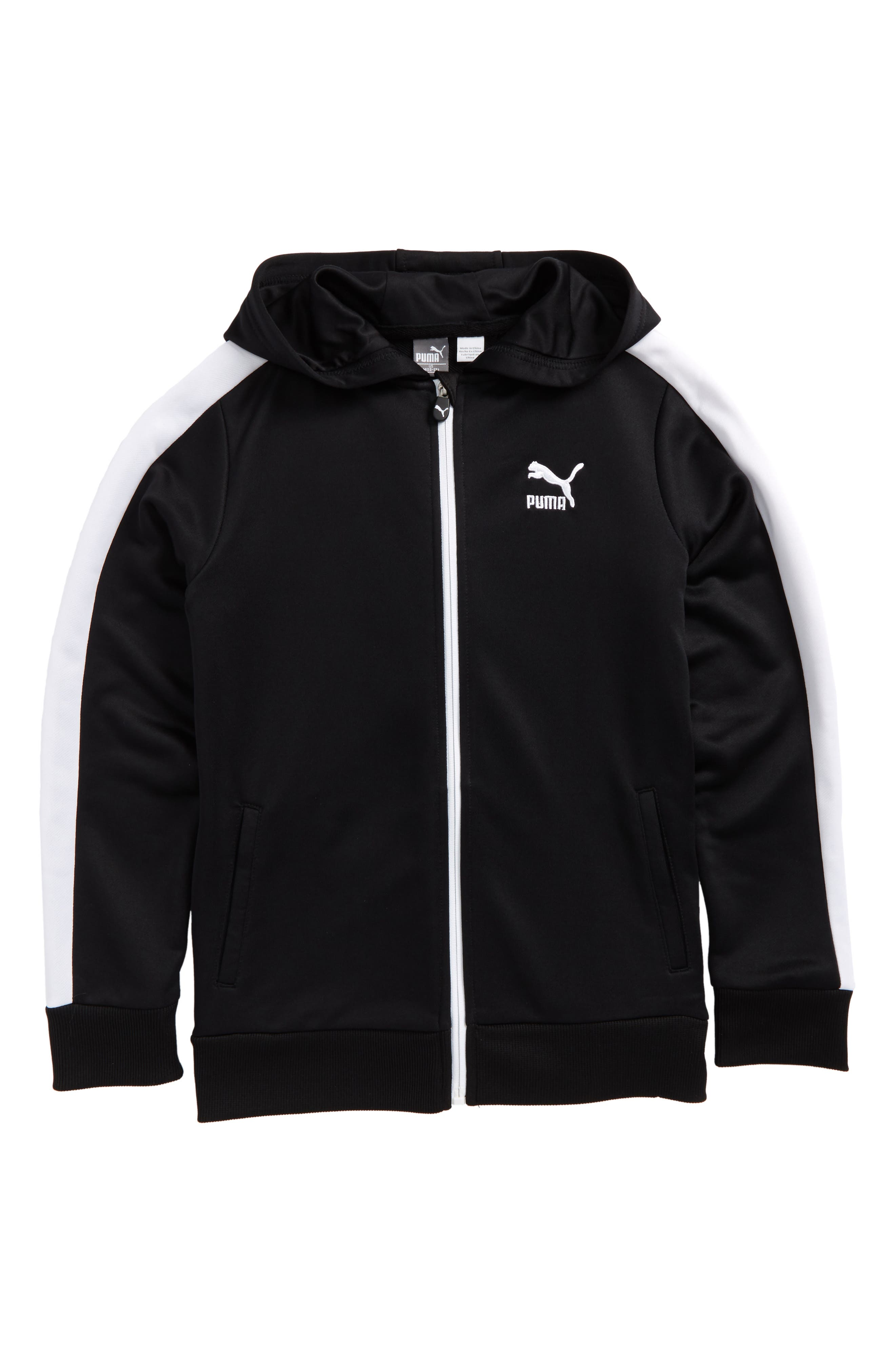 T7 Zip Hoodie,                             Main thumbnail 1, color,                             Puma Black