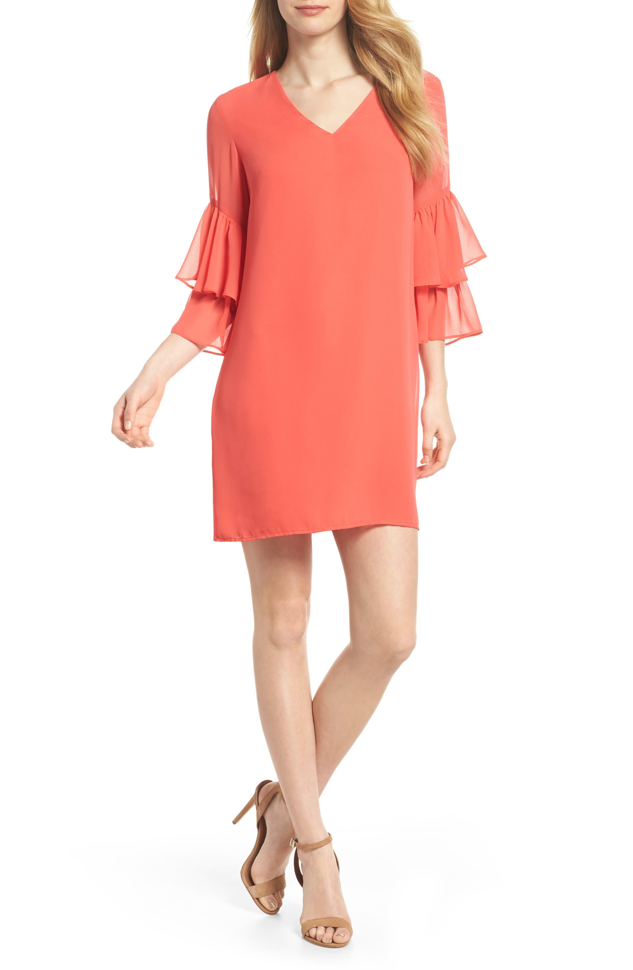 Carmen Tiered Ruffle Sleeve Shift Dress,                         Main,                         color, Coral Crush