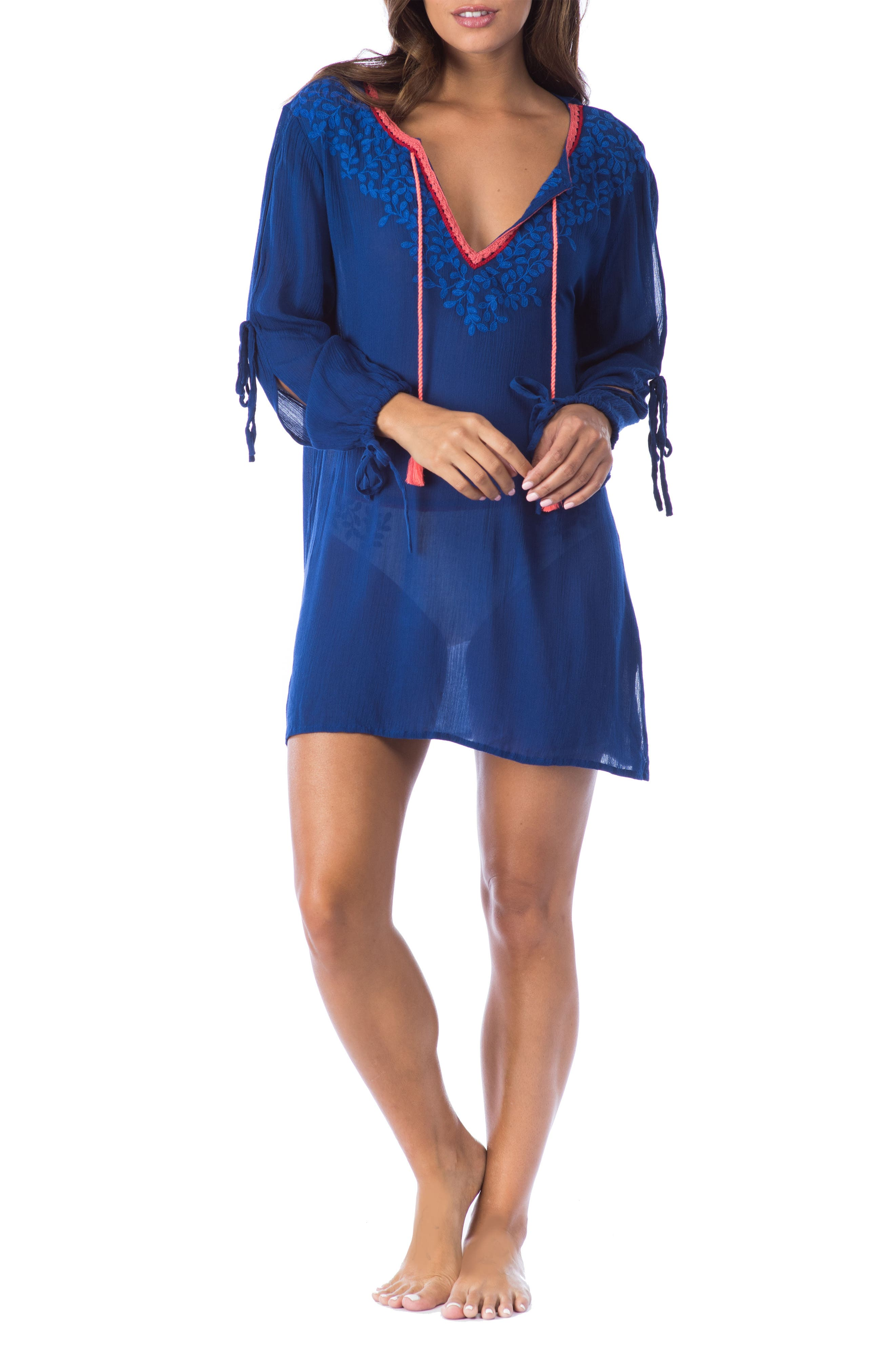 Leaf It Cover-Up Tunic,                             Main thumbnail 1, color,                             Midnight