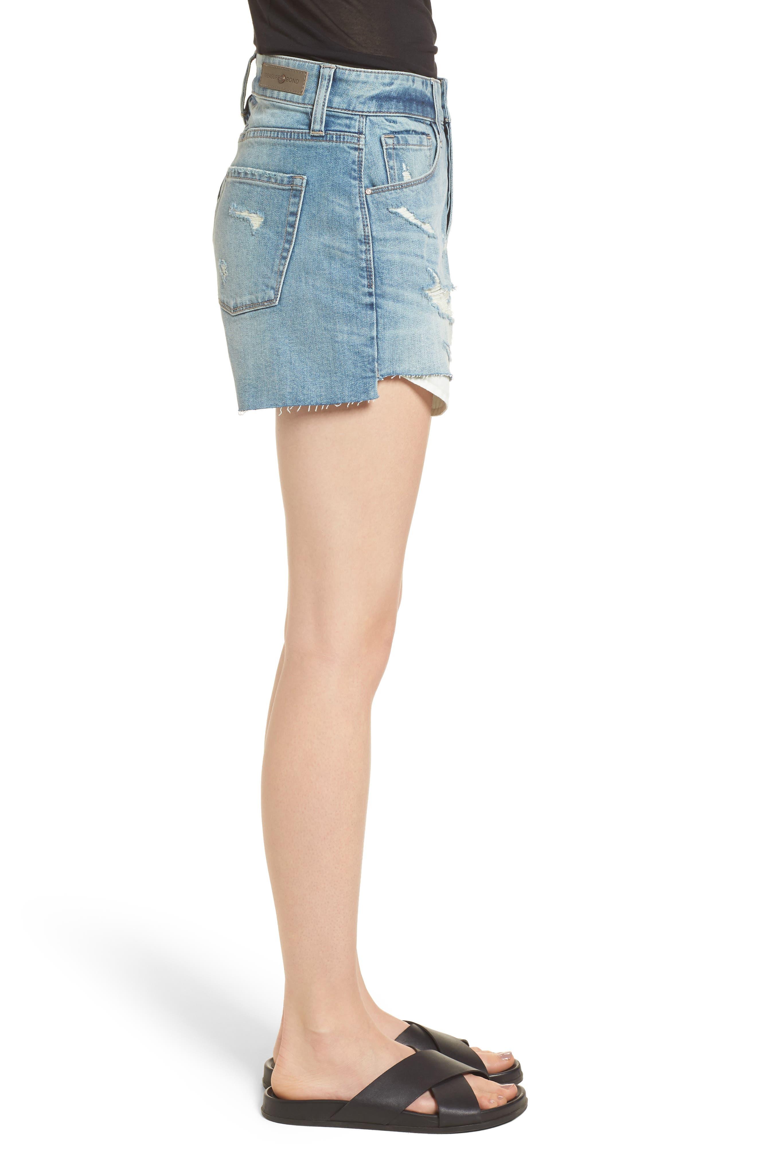 High Waist Boyfriend Cutoff Denim Shorts,                             Alternate thumbnail 3, color,                             Gravel Medium Vintage