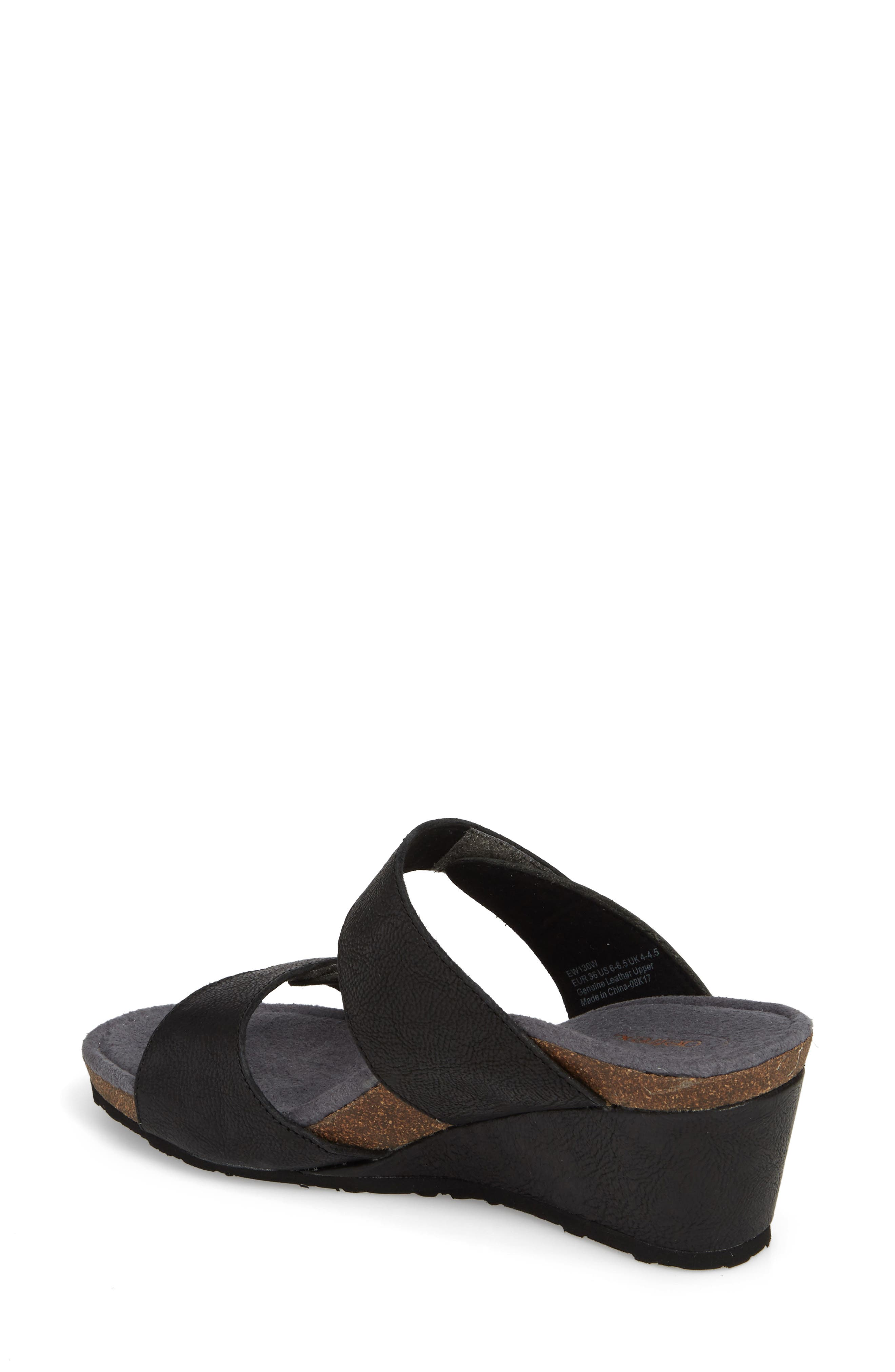Chantel Wedge Sandal,                             Alternate thumbnail 2, color,                             Black Leather