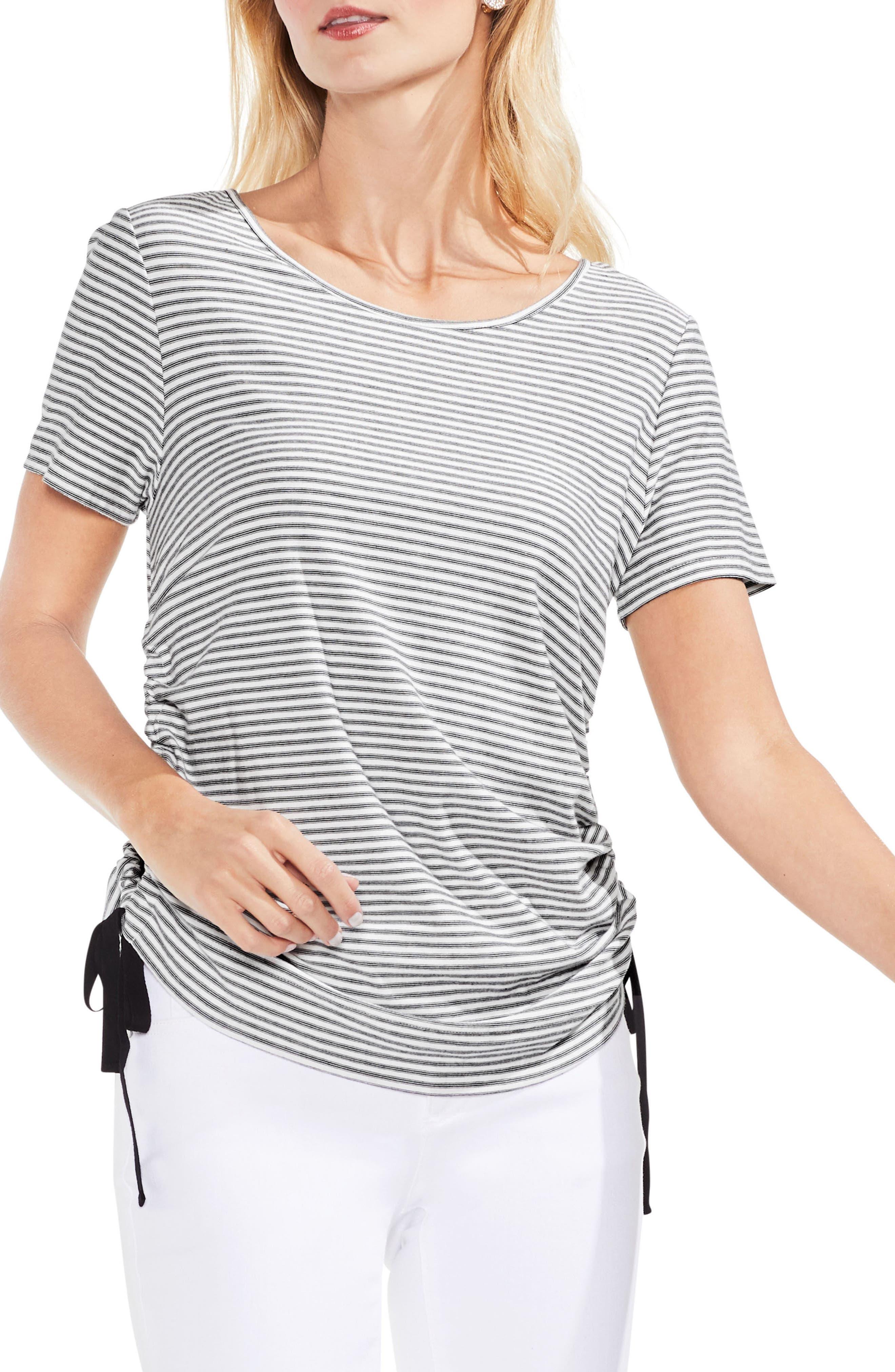 Side Drawstring Mini Stripe Tee,                             Main thumbnail 1, color,                             Rich Black