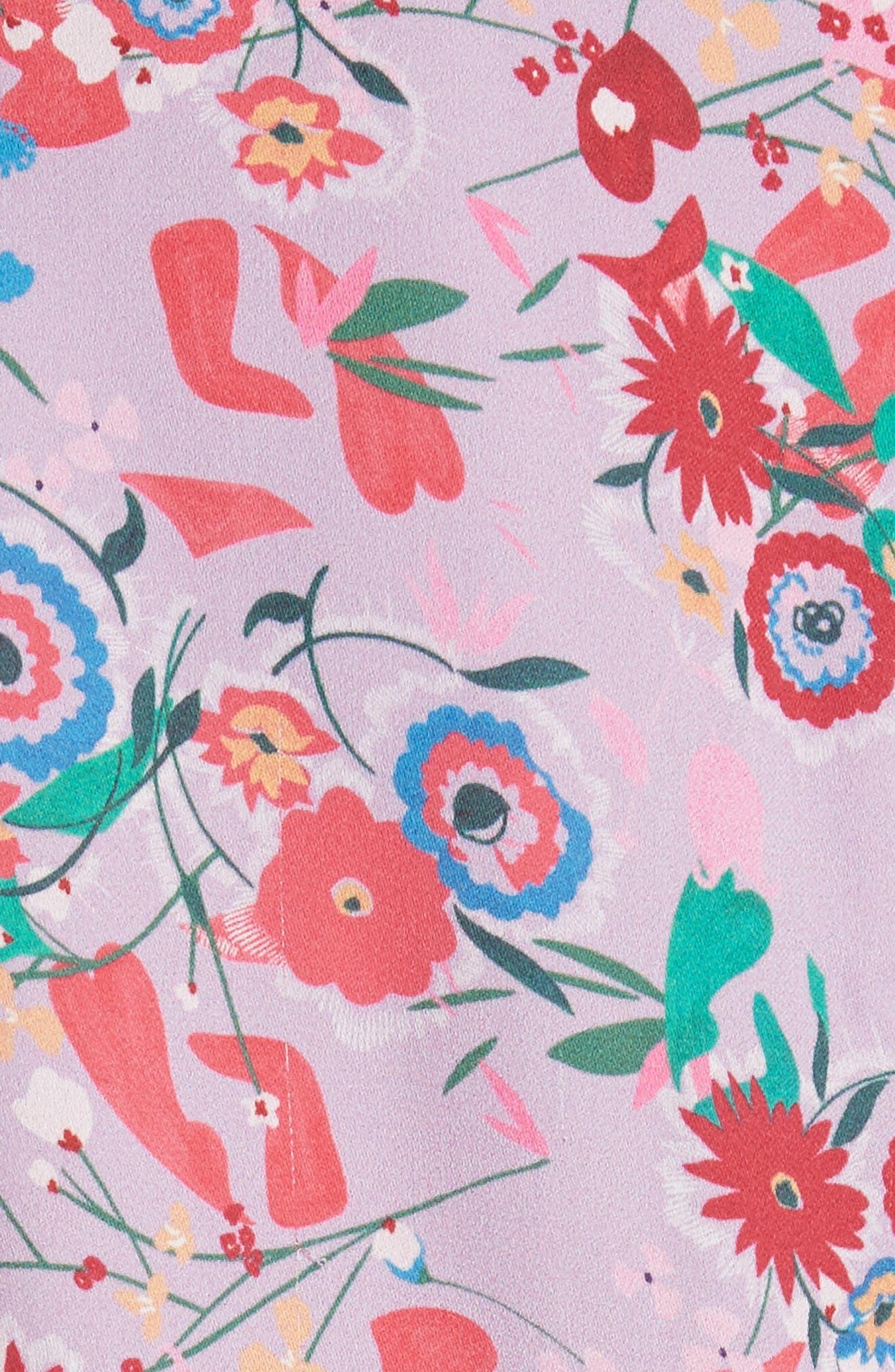 Eve Floral Print Dress,                             Alternate thumbnail 5, color,                             Lilac Pimpernel